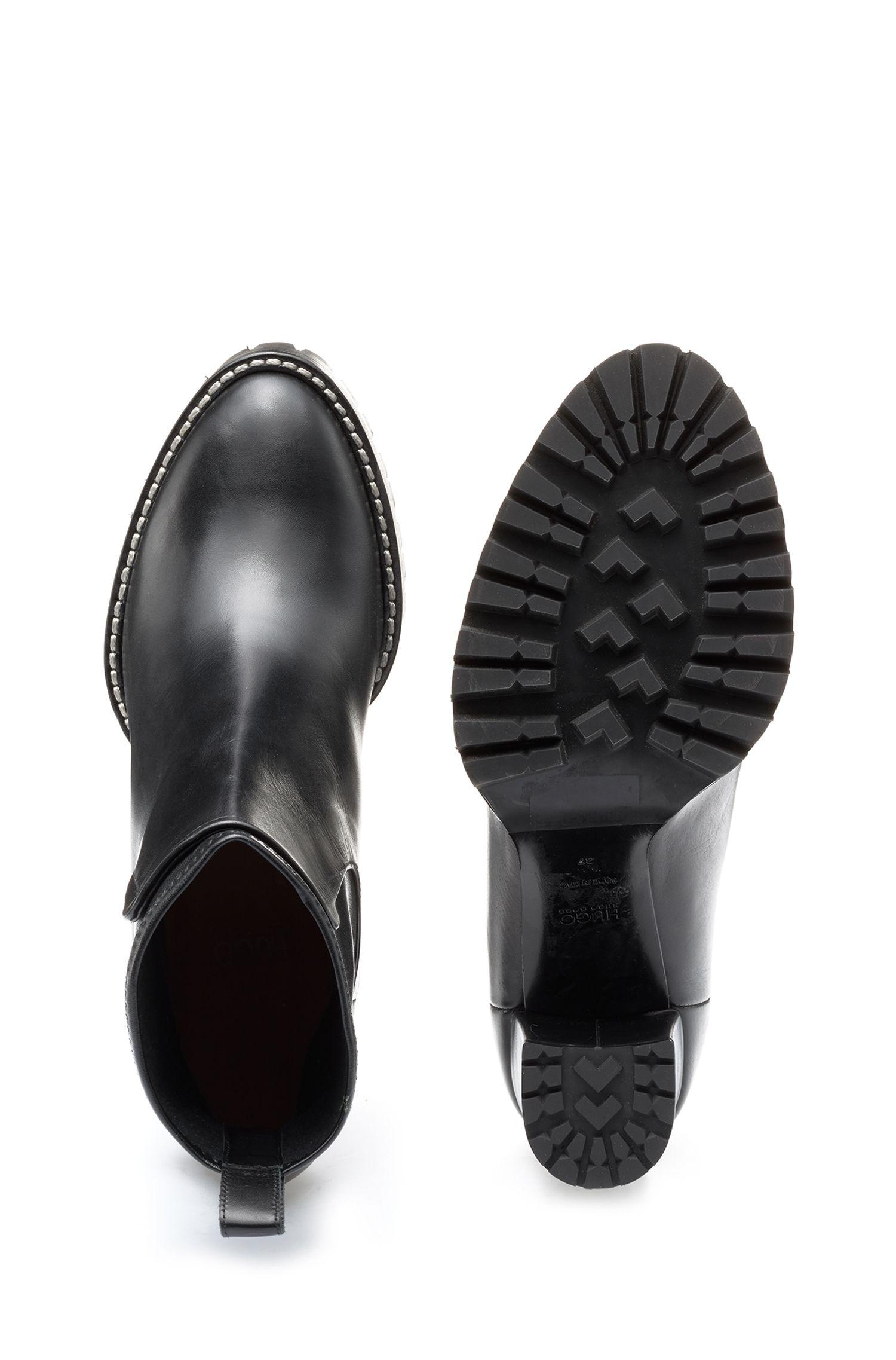 Leder-Boots mit Profilsohle und hohem Absatz, Schwarz