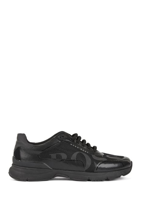 Running-inspired trainers with thermo-bonded details, Black