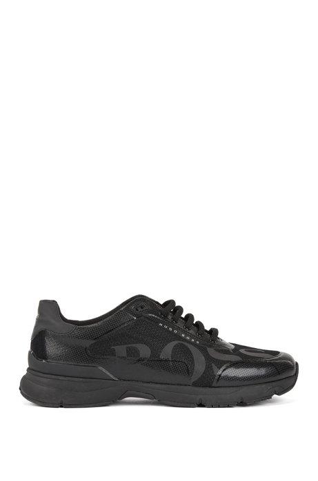 Sneakers in hardloopstijl met thermisch gehechte details, Zwart