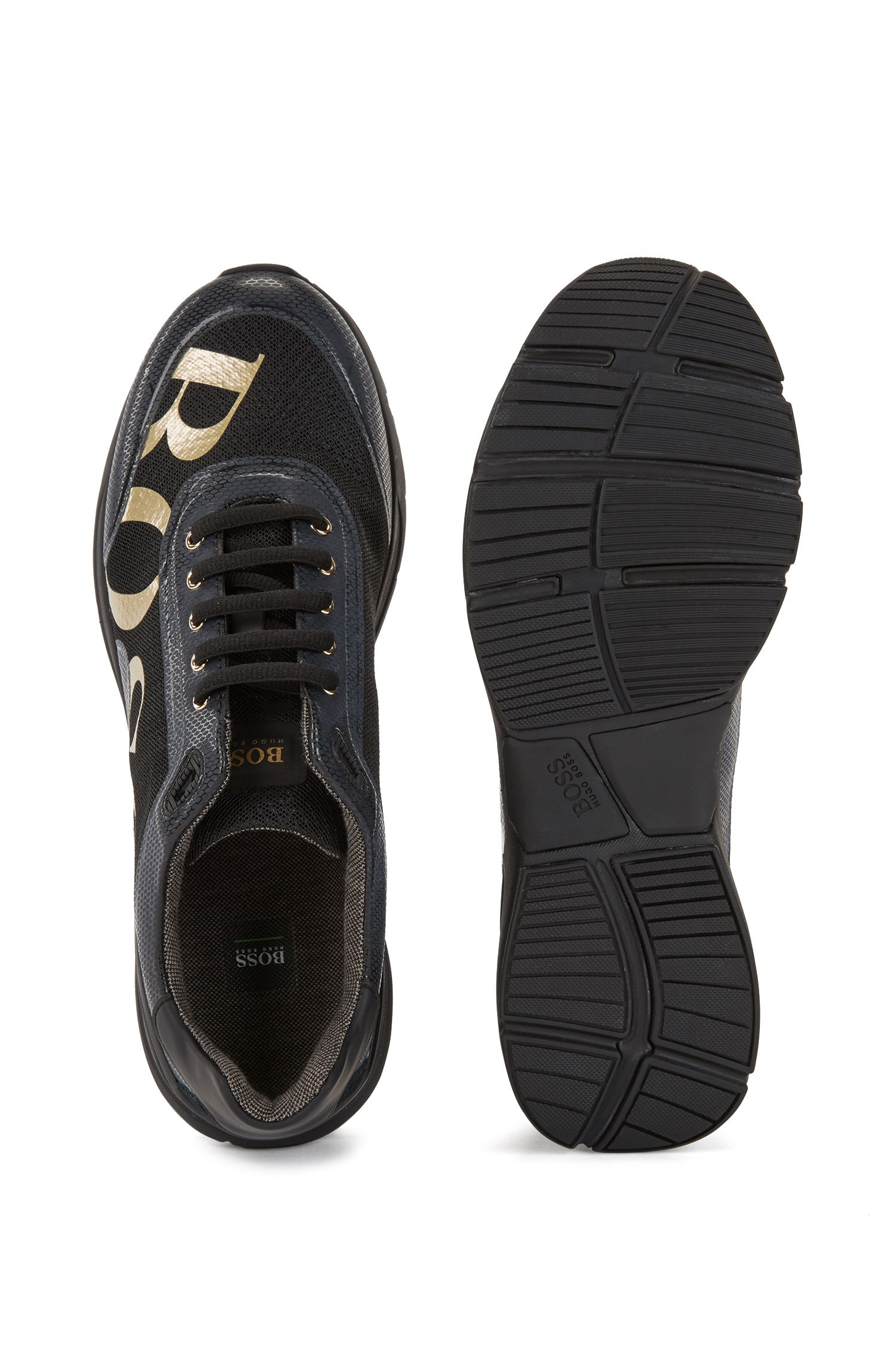 Running-inspired trainers with bamboo-charcoal lining, Black