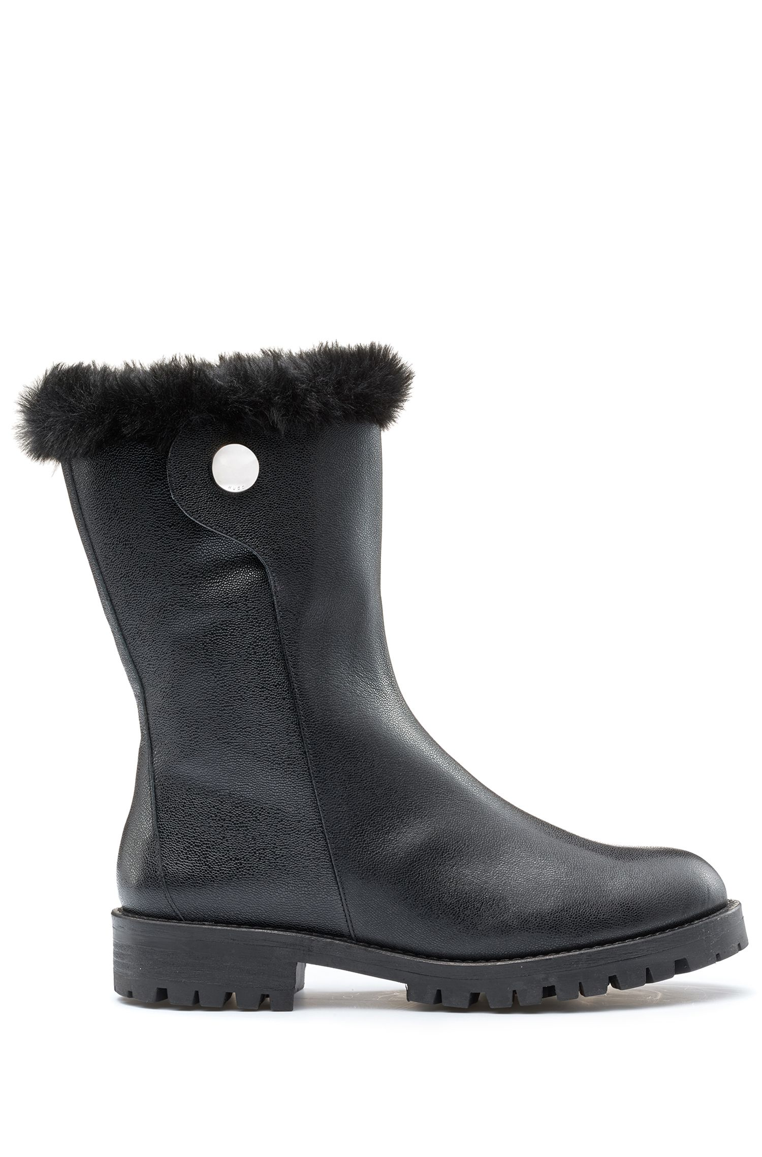 Biker boots in grained Italian leather with faux-fur lining, Black