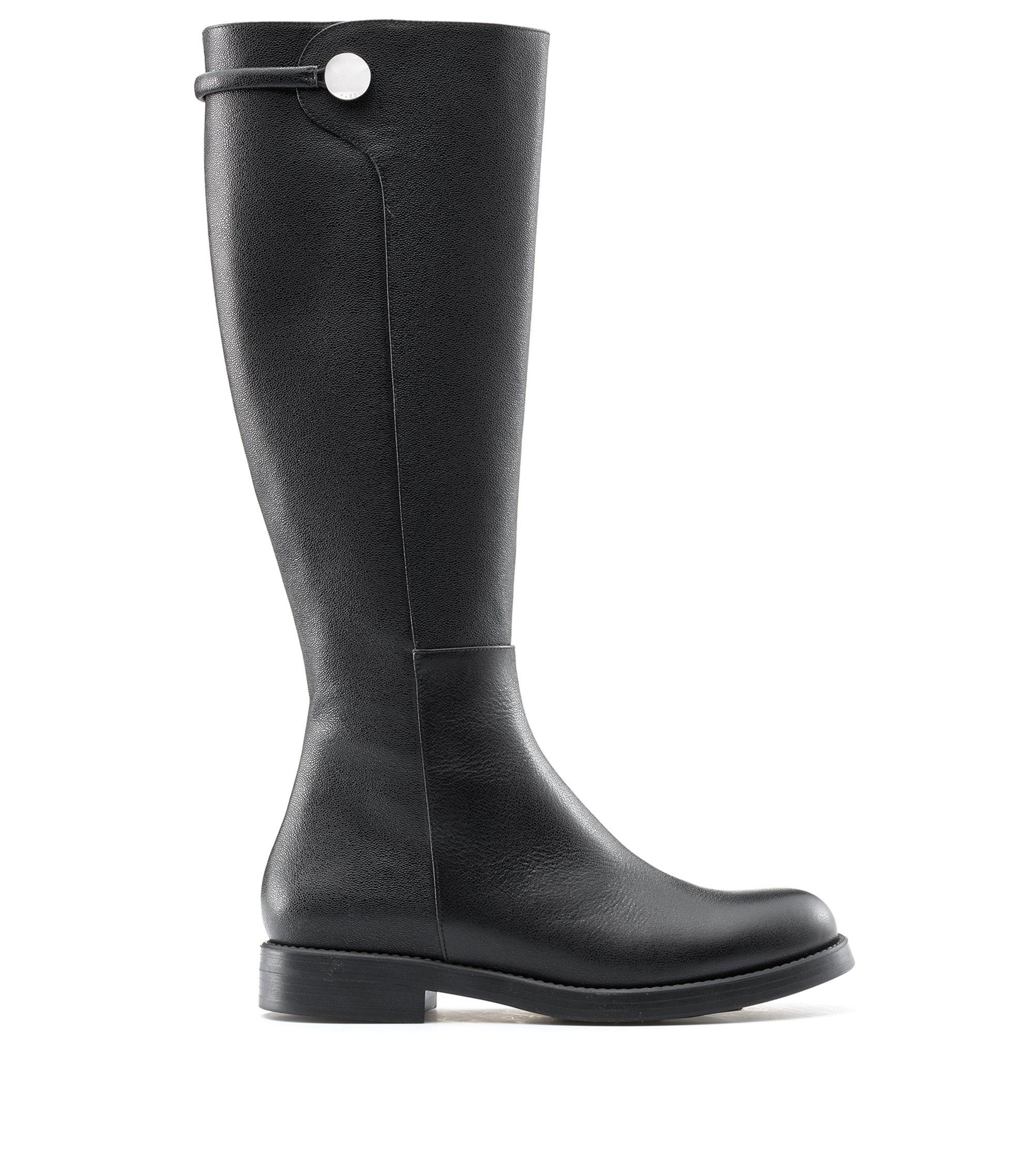 Knee-high boots in grained Italian calf leather, Black