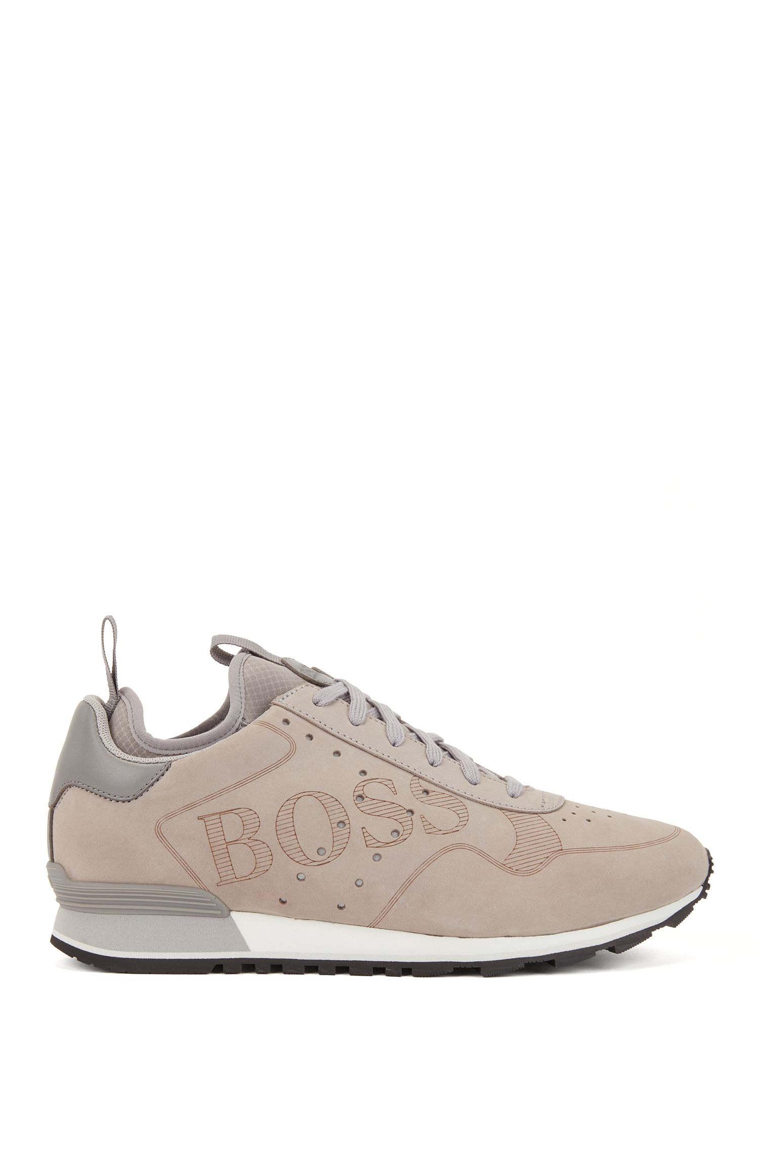 Lace-up trainers in leather with laser-cut logo, Grey