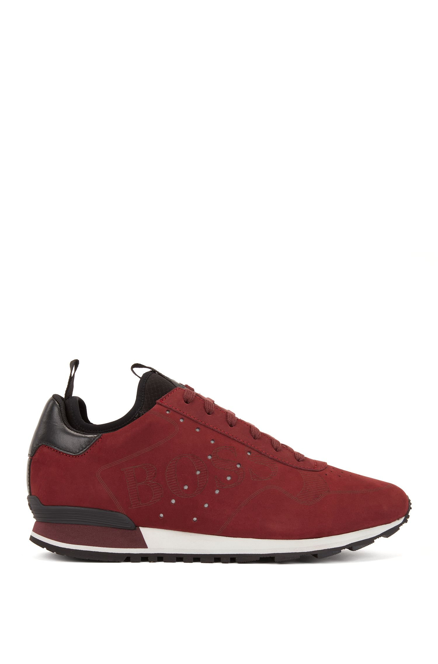 Lace-up trainers in leather with laser-cut logo, Dark Red