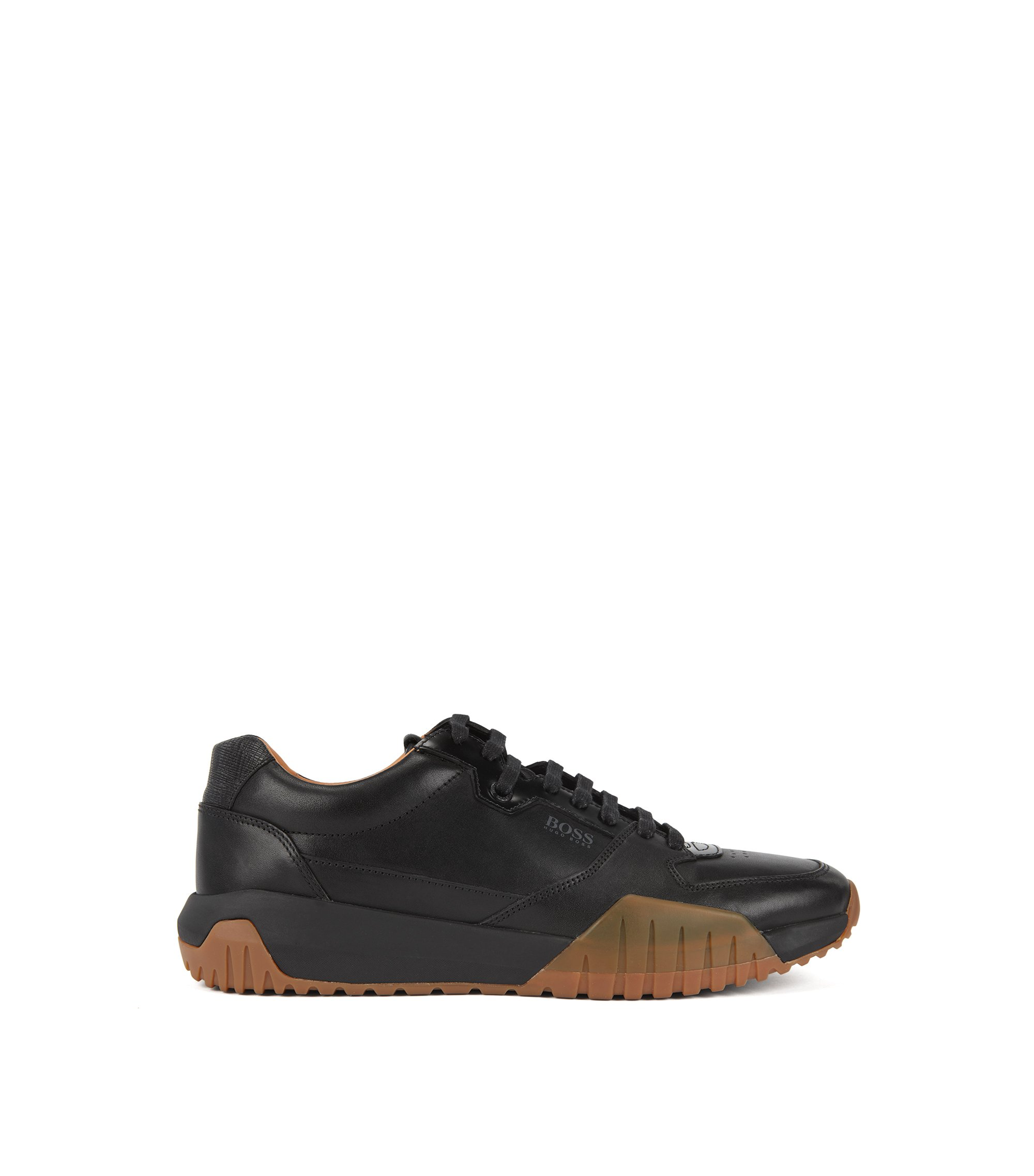 Running-inspired trainers with calf-leather uppers, Black