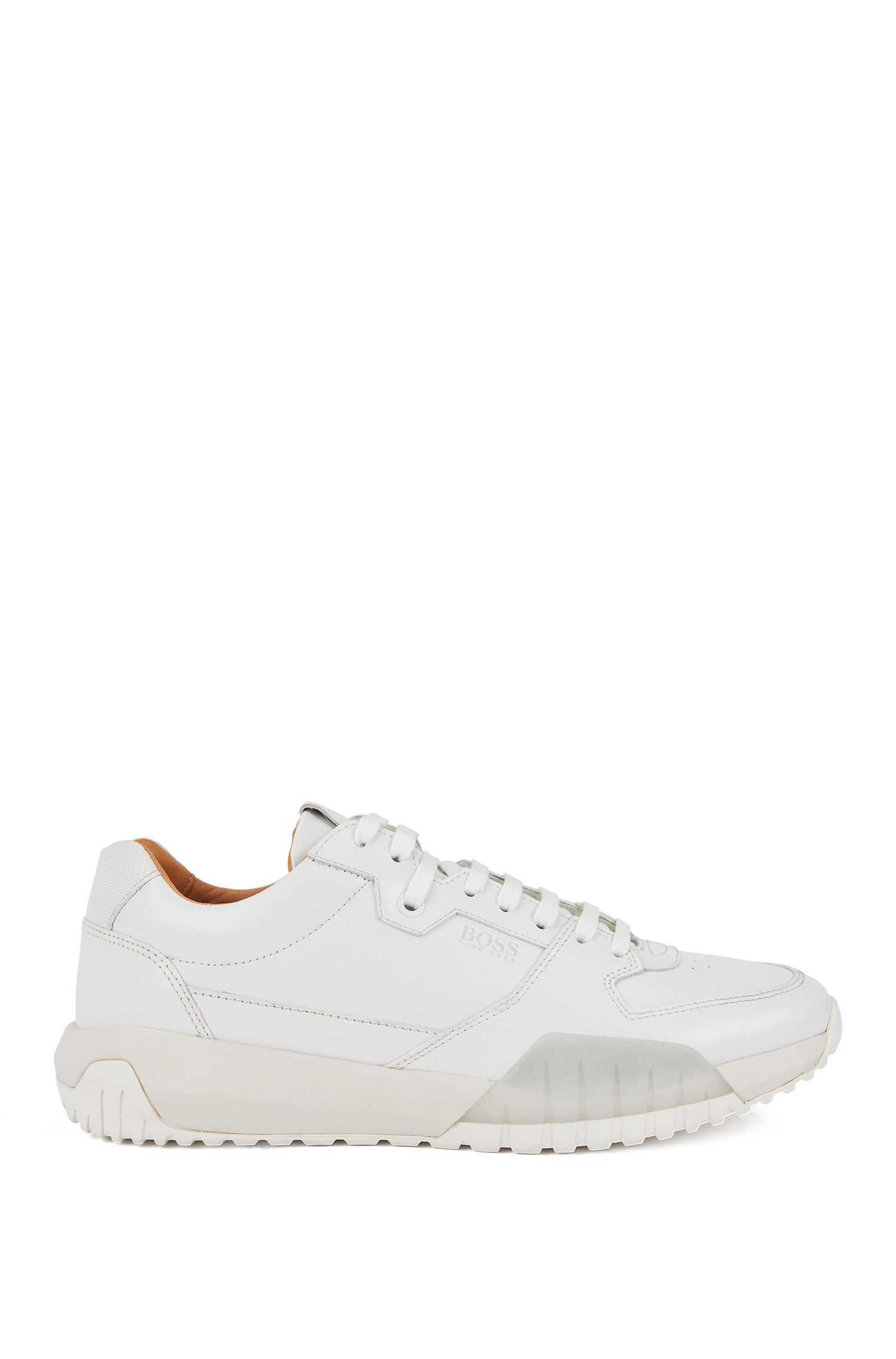 Running-inspired trainers with calf-leather uppers, White