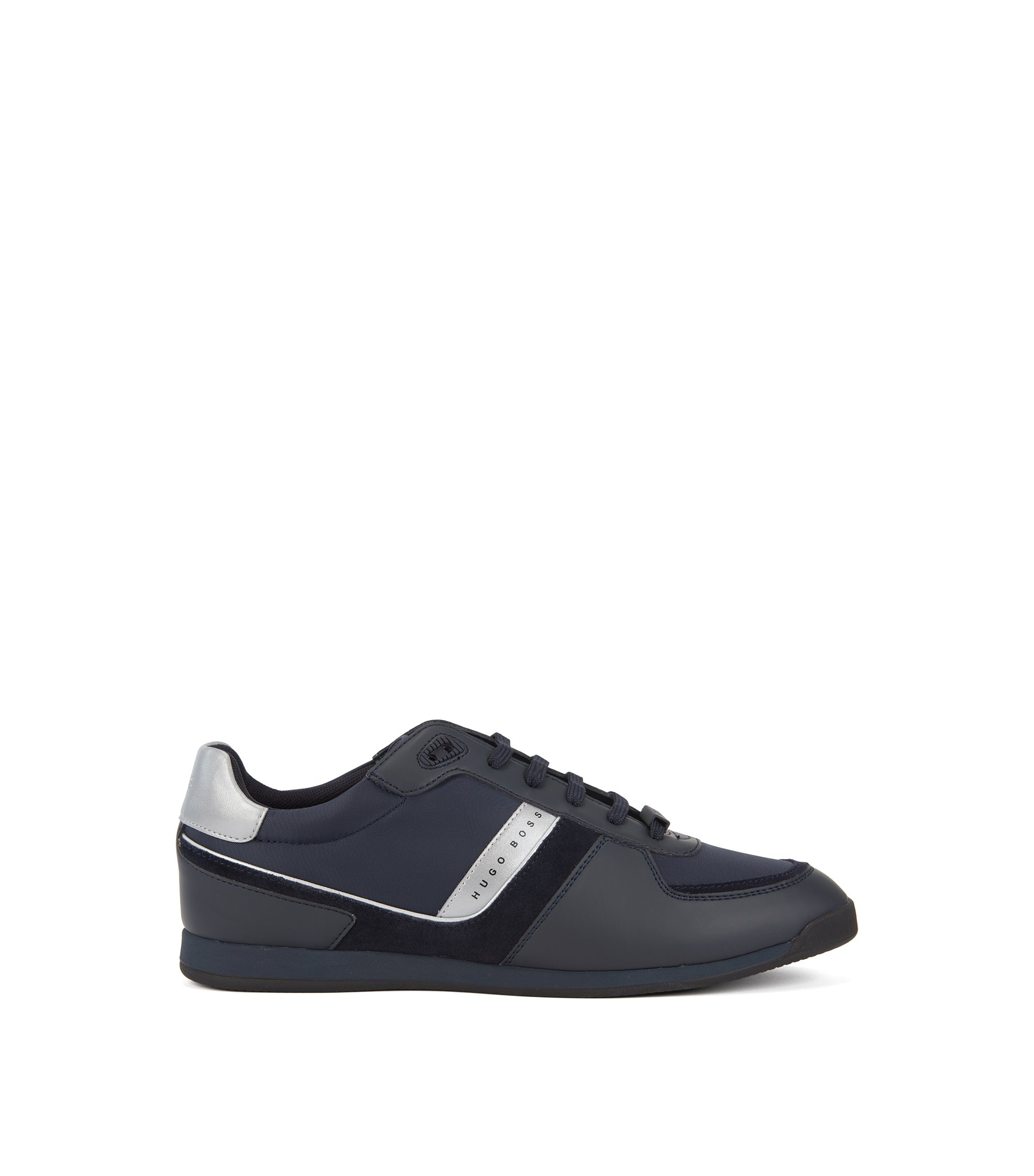 Lace-up trainers with suede and rubberised details, Dark Blue