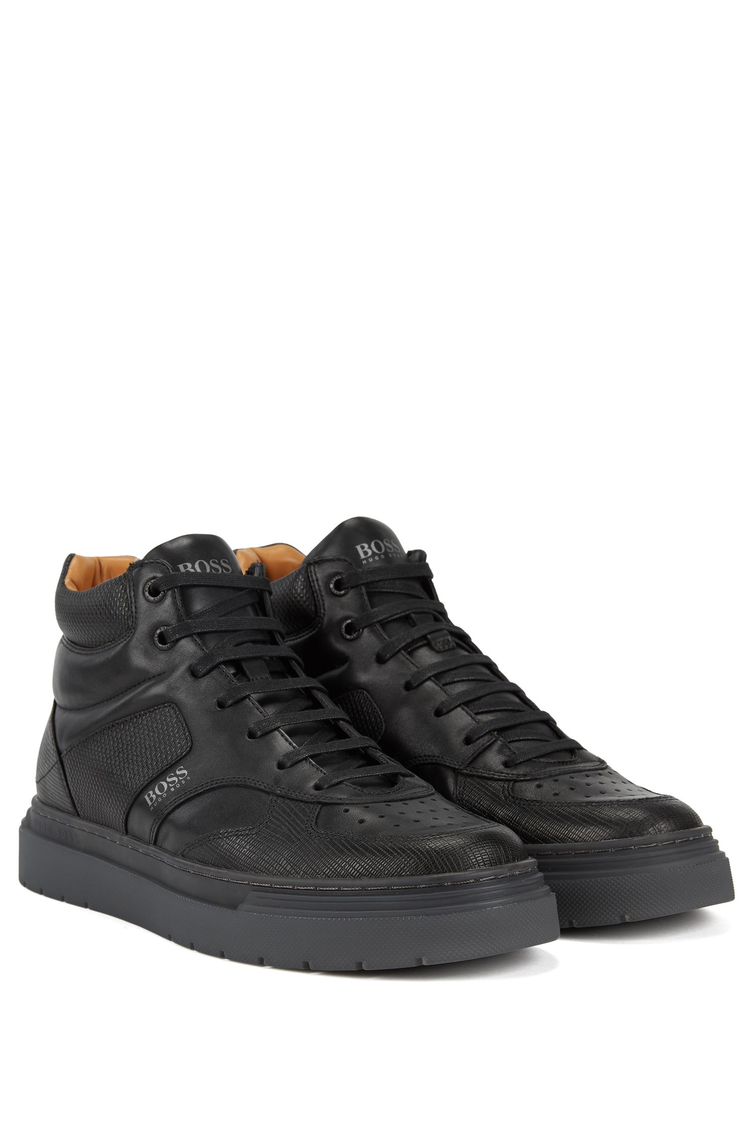 High-top trainers in calf leather with embossed panels, Black