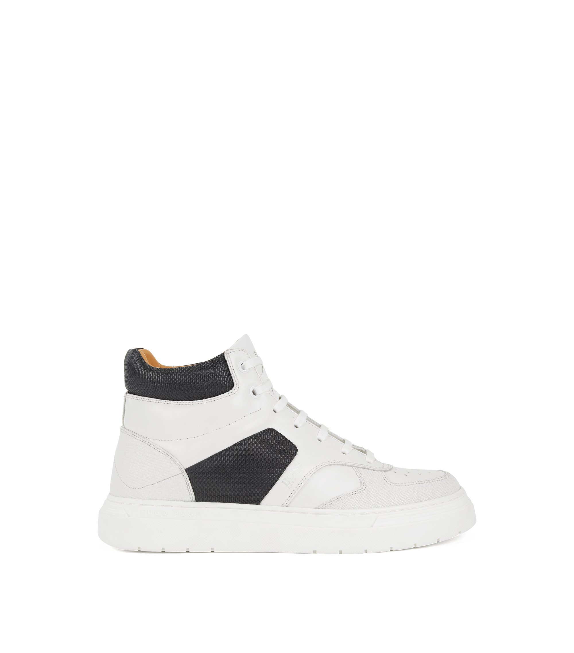 High-top trainers in calf leather with embossed panels, White