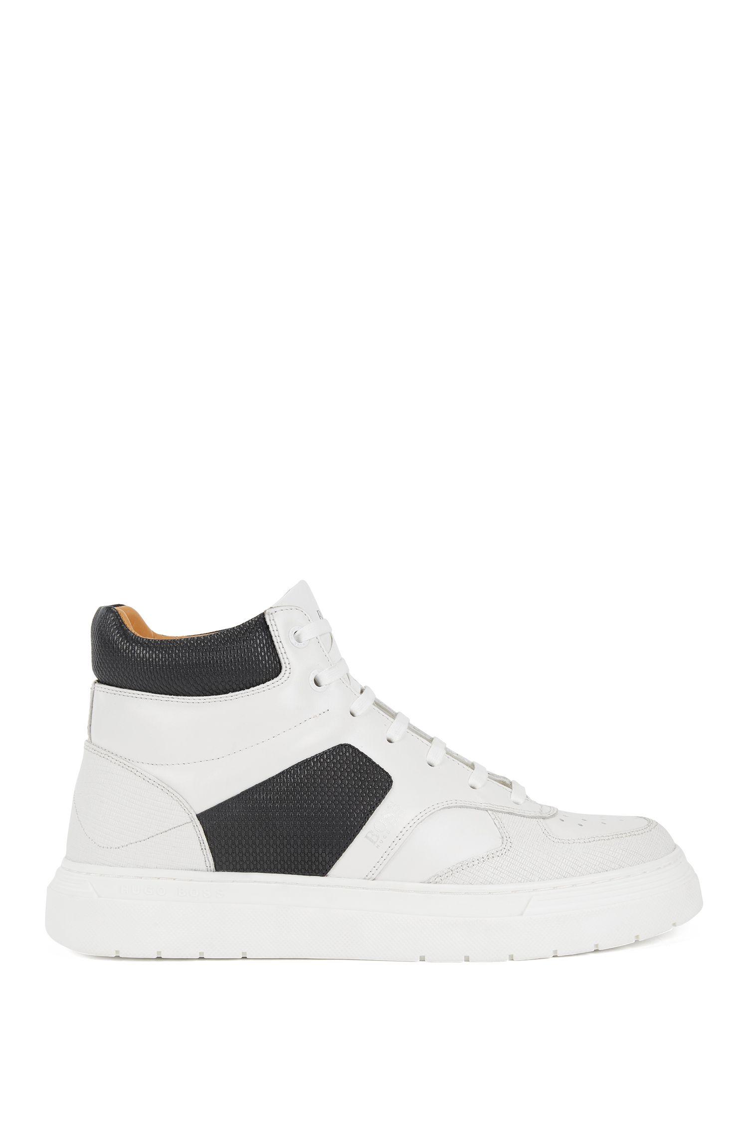 Sneakers high-top in pelle di vitello con sezioni goffrate, Bianco