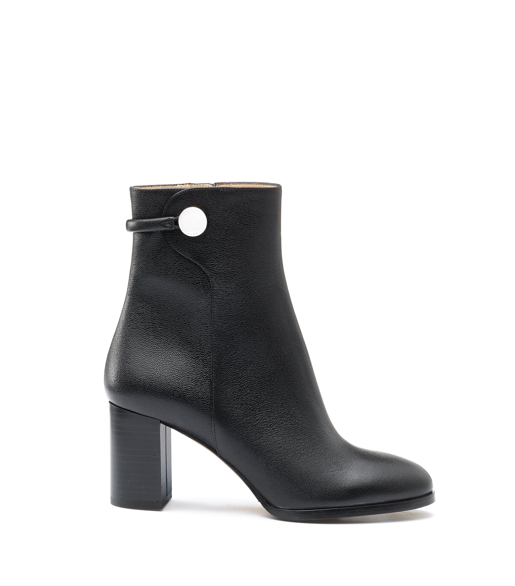 Mid-calf boots in grained Italian leather, Black