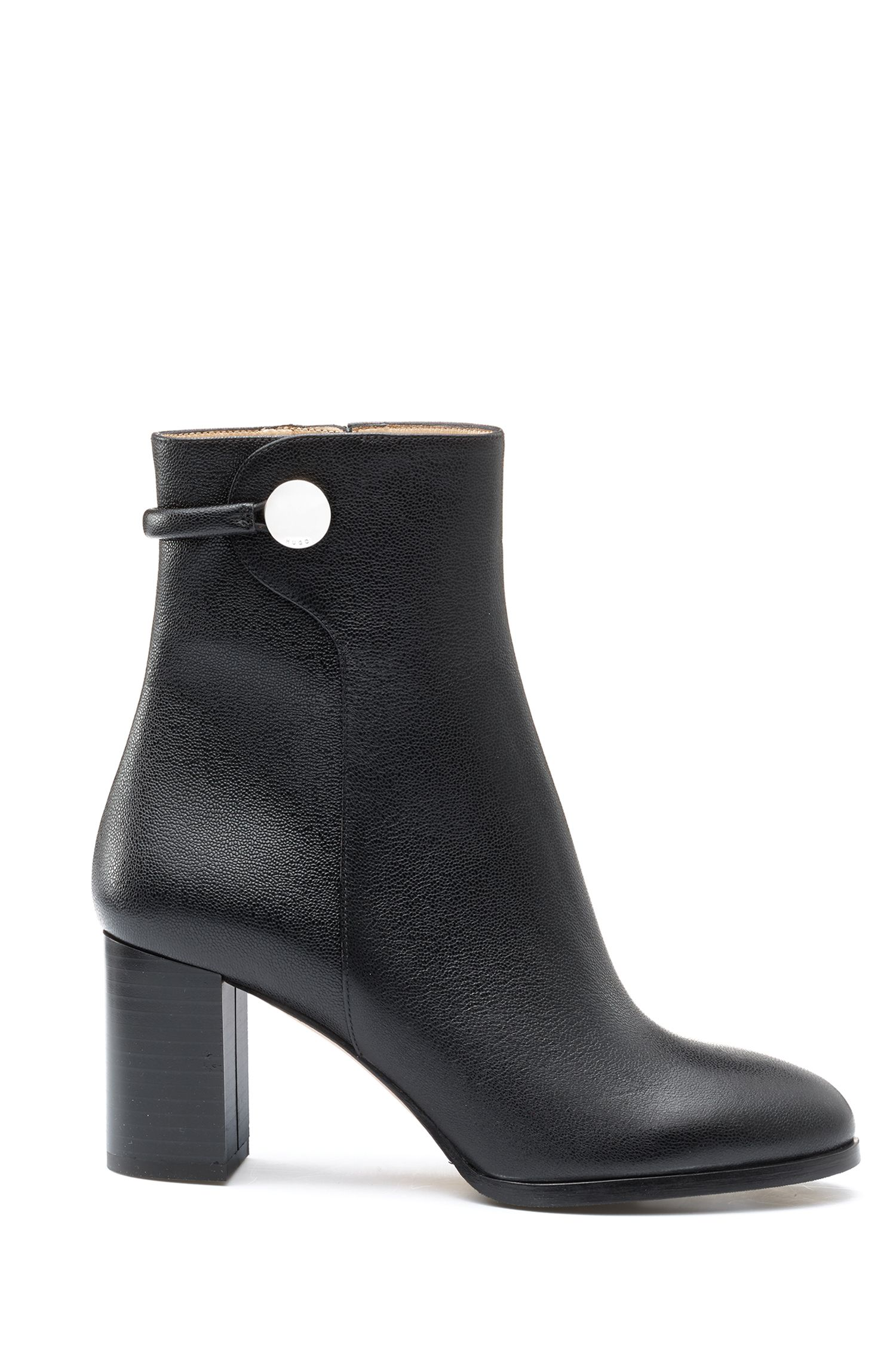 Mid-calf boots in grained Italian leather