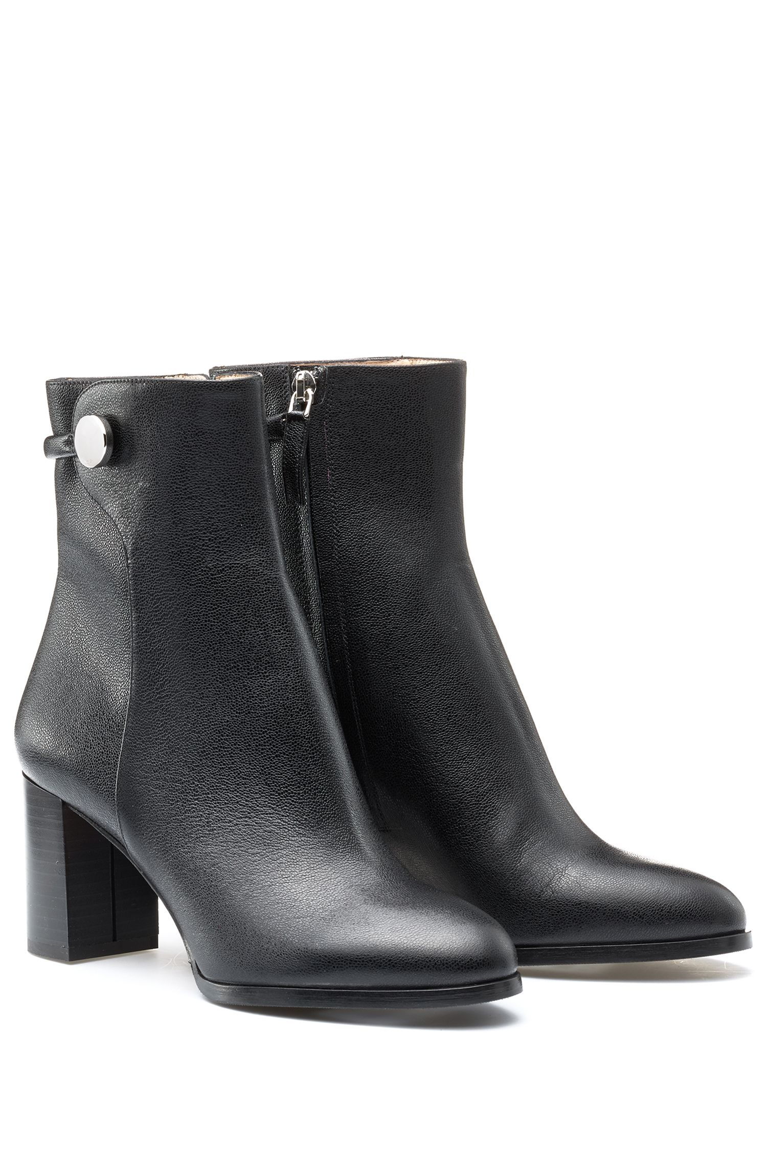 HUGO BOSS Bottines mi-hautes en cuir italien grainé