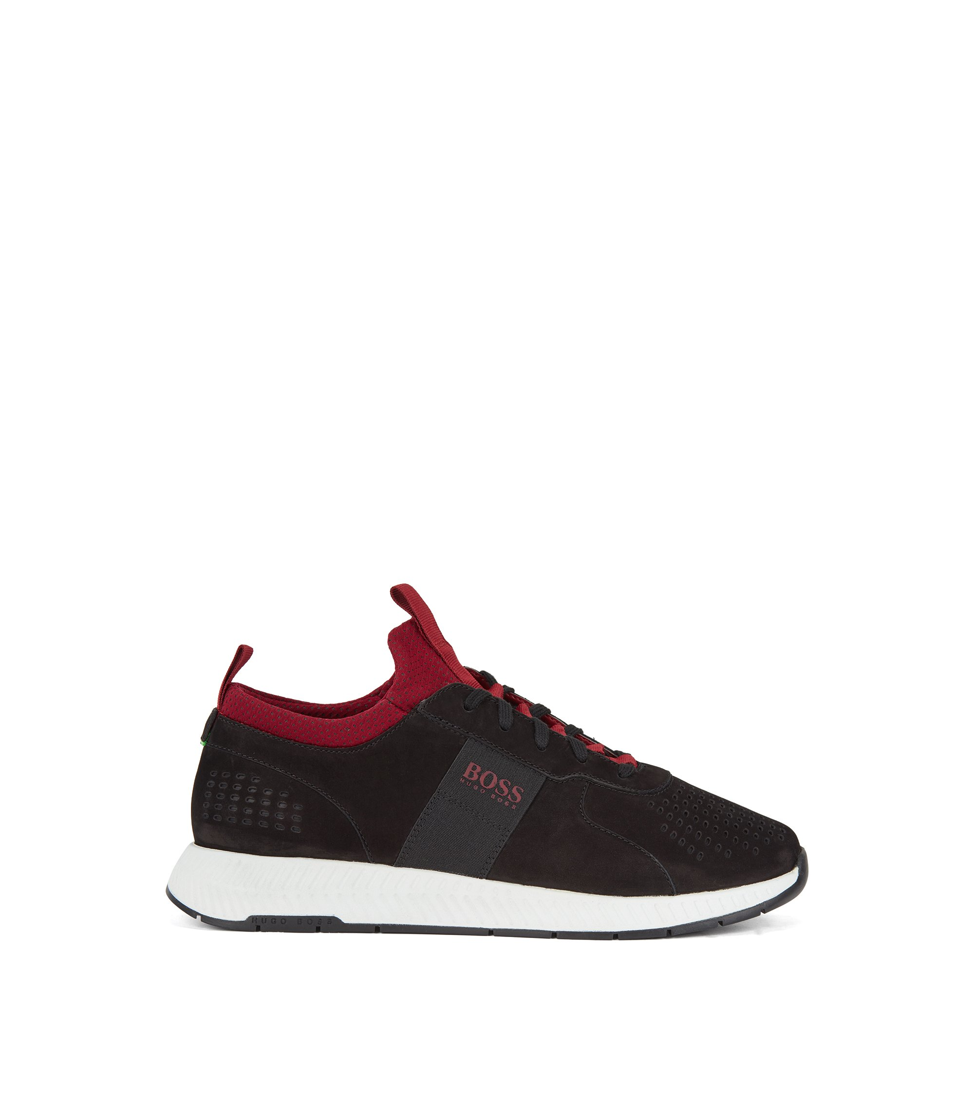 Running-inspired trainers in perforated nubuck leather, Black