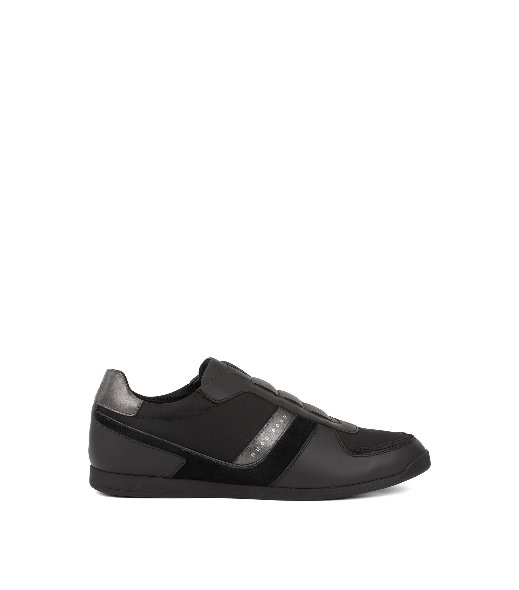 Low-top trainers with lace-free uppers, Black