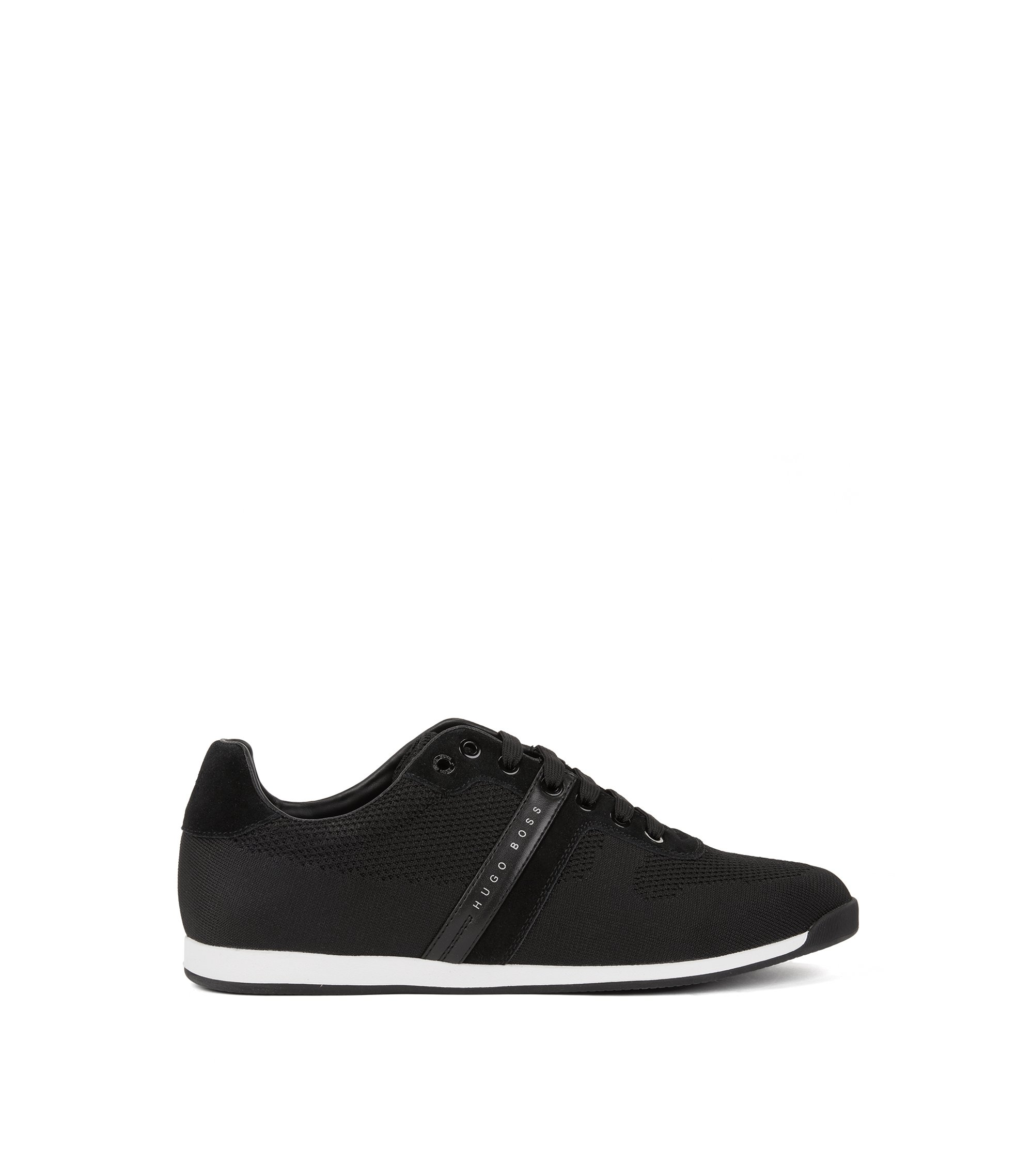Low-top trainers in suede and knitted jacquard, Black