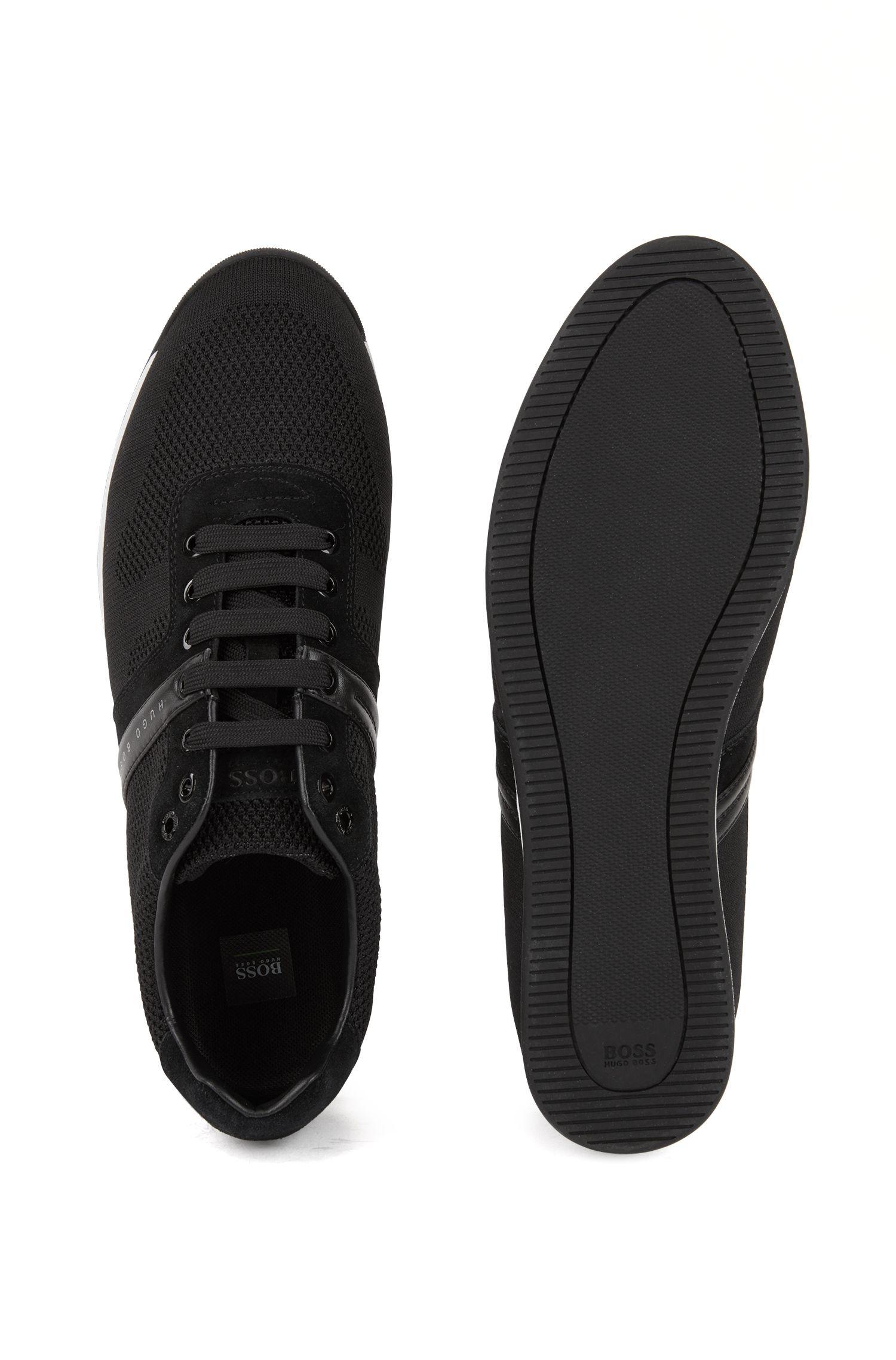 Lage sneakers van suède met gebreide jacquard, Zwart