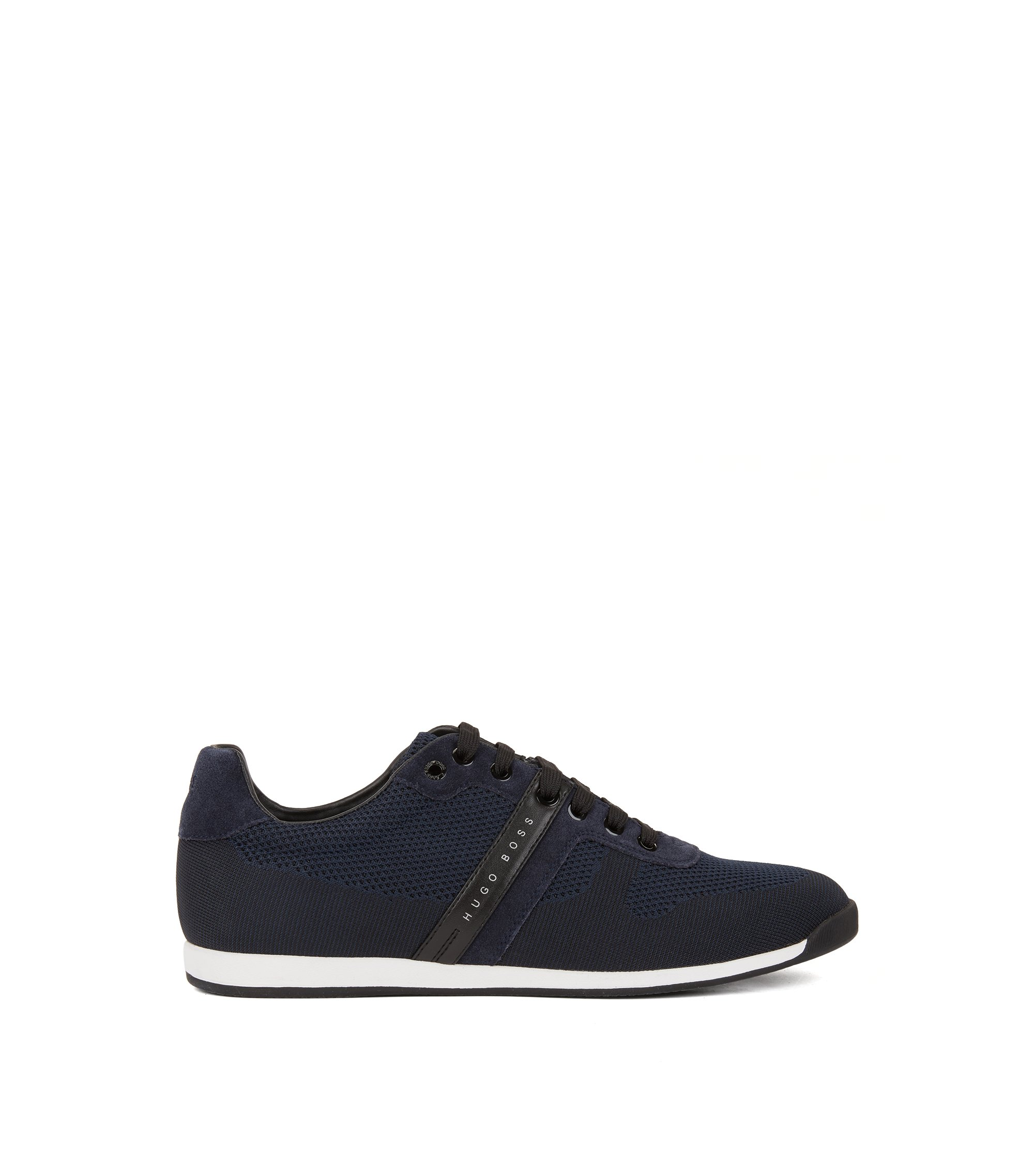 Low-top trainers in suede and knitted jacquard, Dark Blue