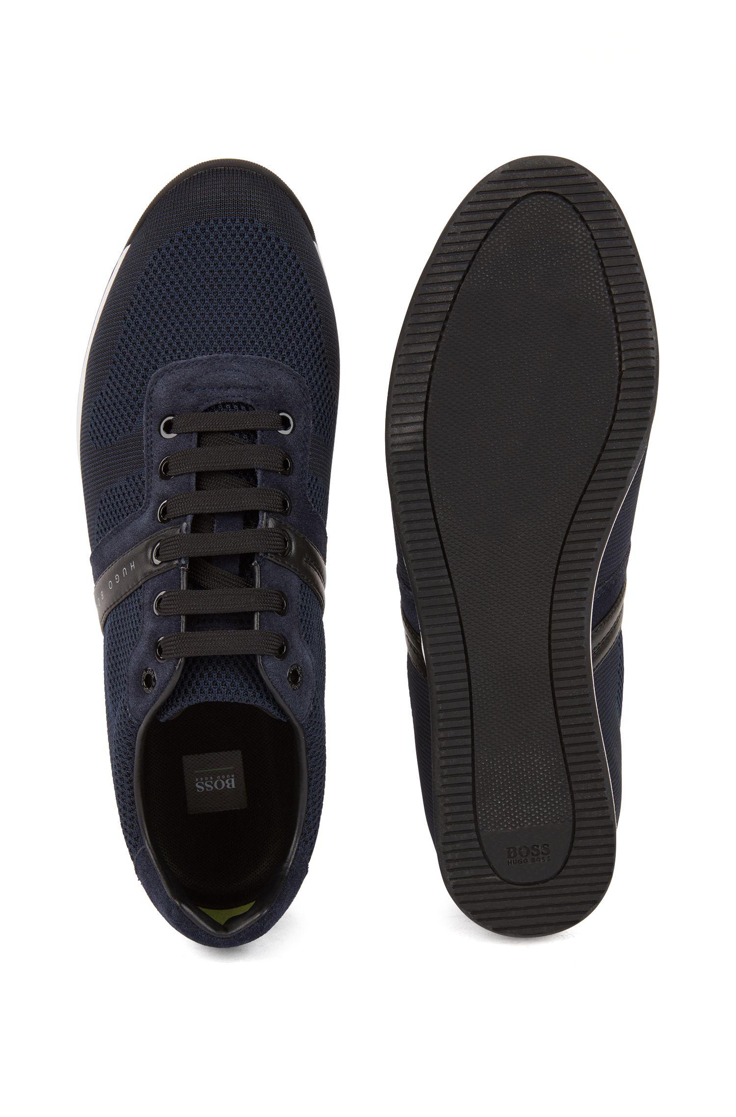Lage sneakers van suède met gebreide jacquard, Donkerblauw