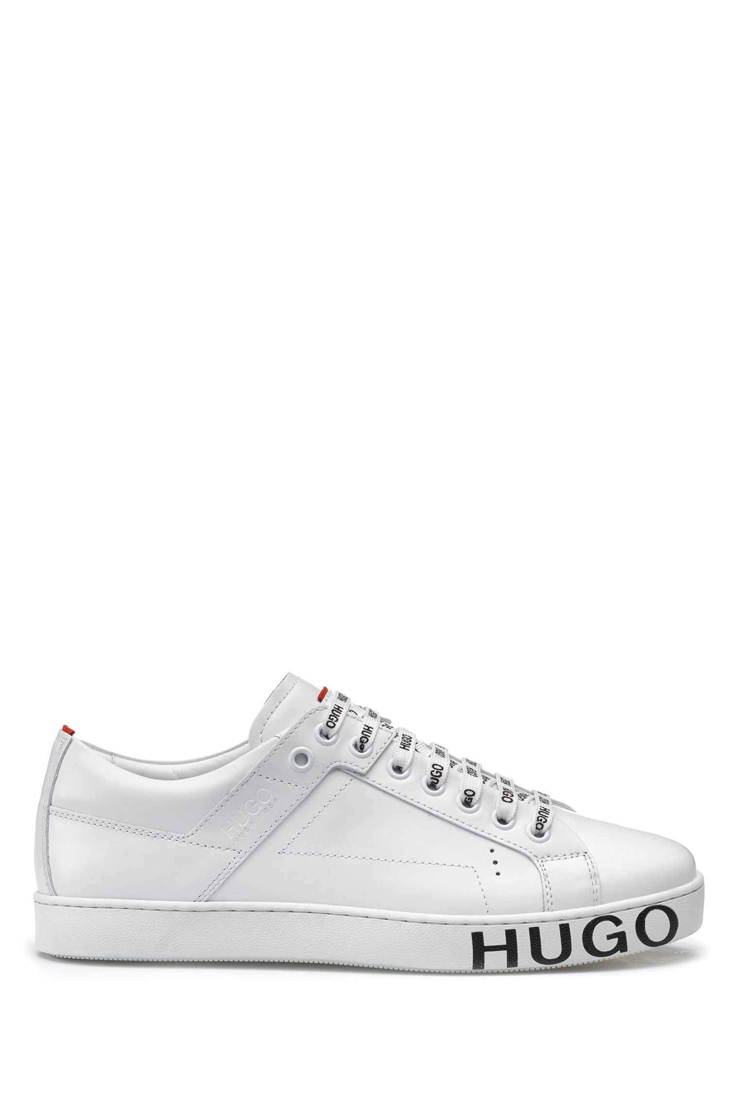Low-top trainers in Italian leather with statement logo, White