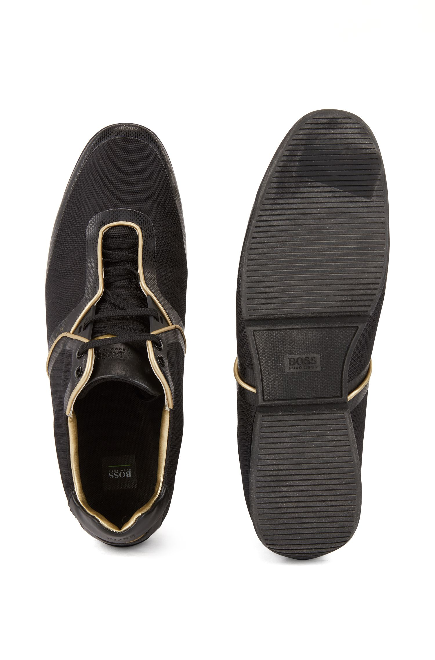 Sneakers low-top in tessuto tecnico lavorato, Nero