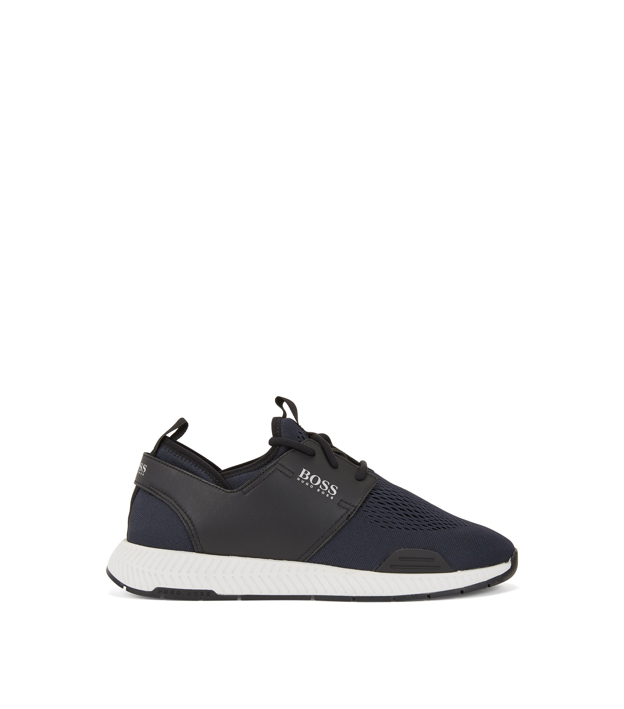 Running-inspired trainers with mesh uppers, Dark Blue