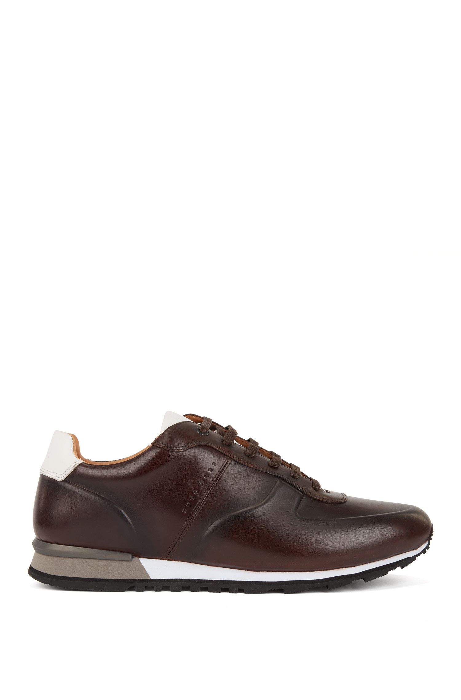 Running-inspired trainers in burnished calf leather, Dark Brown