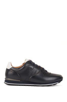 Sportive Sneakers aus poliertem Leder, Dunkelblau