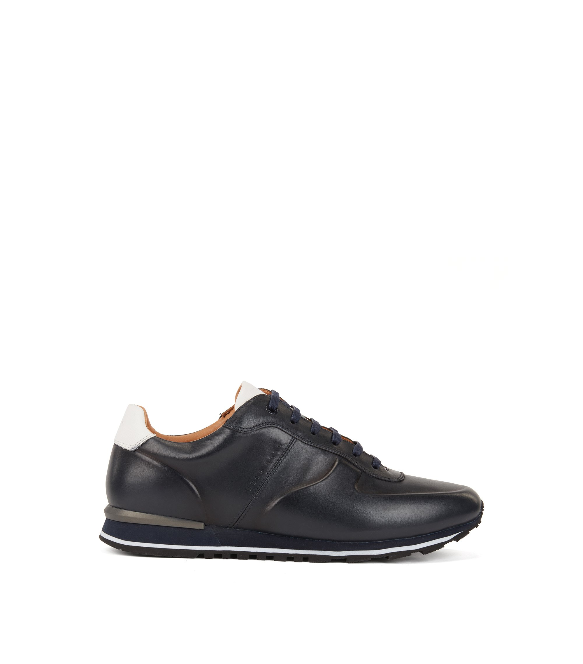Running-inspired trainers in burnished calf leather, Dark Blue
