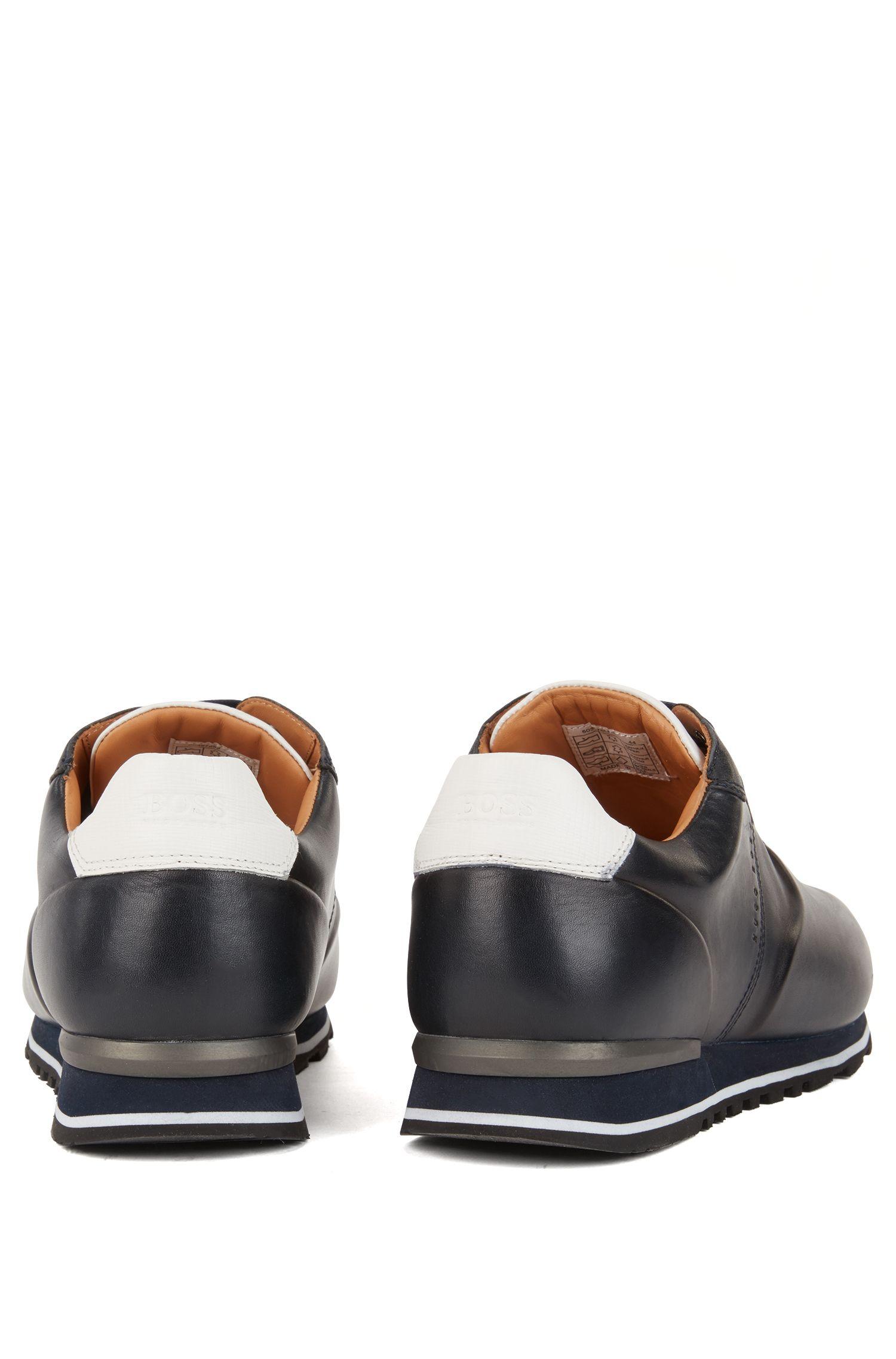 Hardloop-geïnspireerde sneakers van gebrand kalfsleer, Donkerblauw