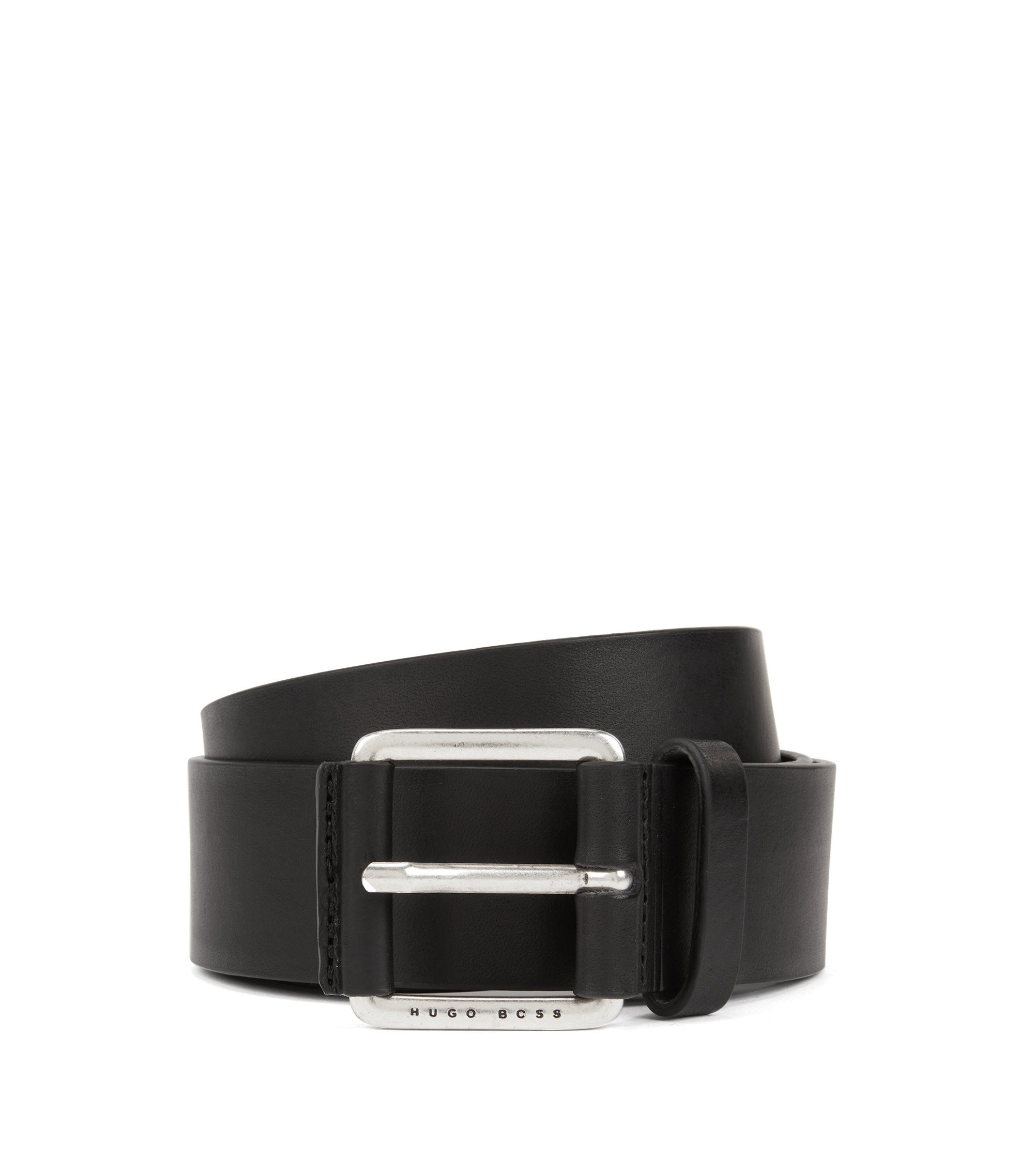 Smooth leather belt with leather-covered buckle, Black
