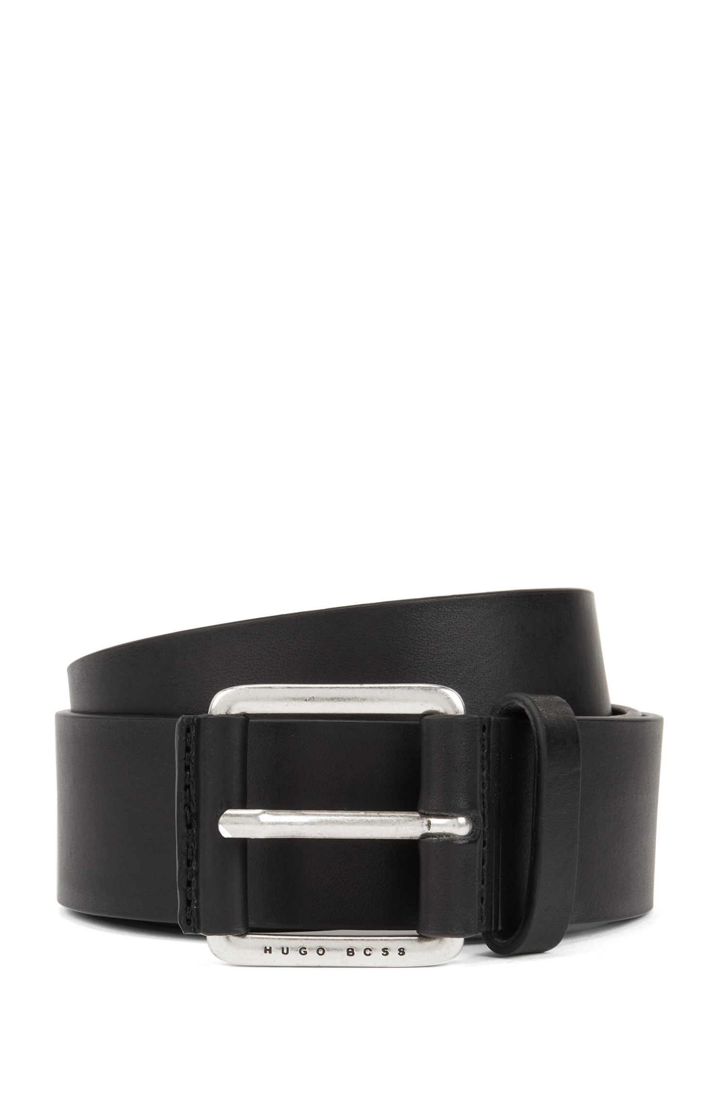 Smooth leather belt with leather-covered buckle