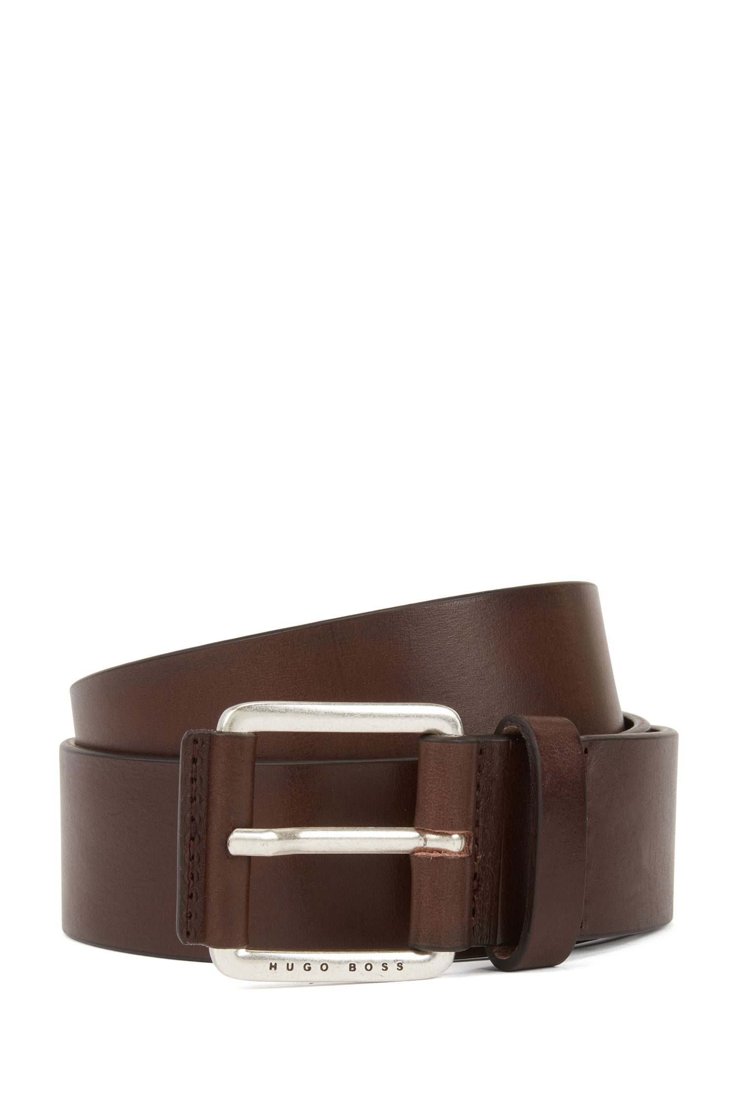 Smooth leather belt with leather-covered buckle, Dark Brown