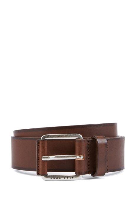 Cinturón de piel lisa con hebilla forrada de piel, Marrón