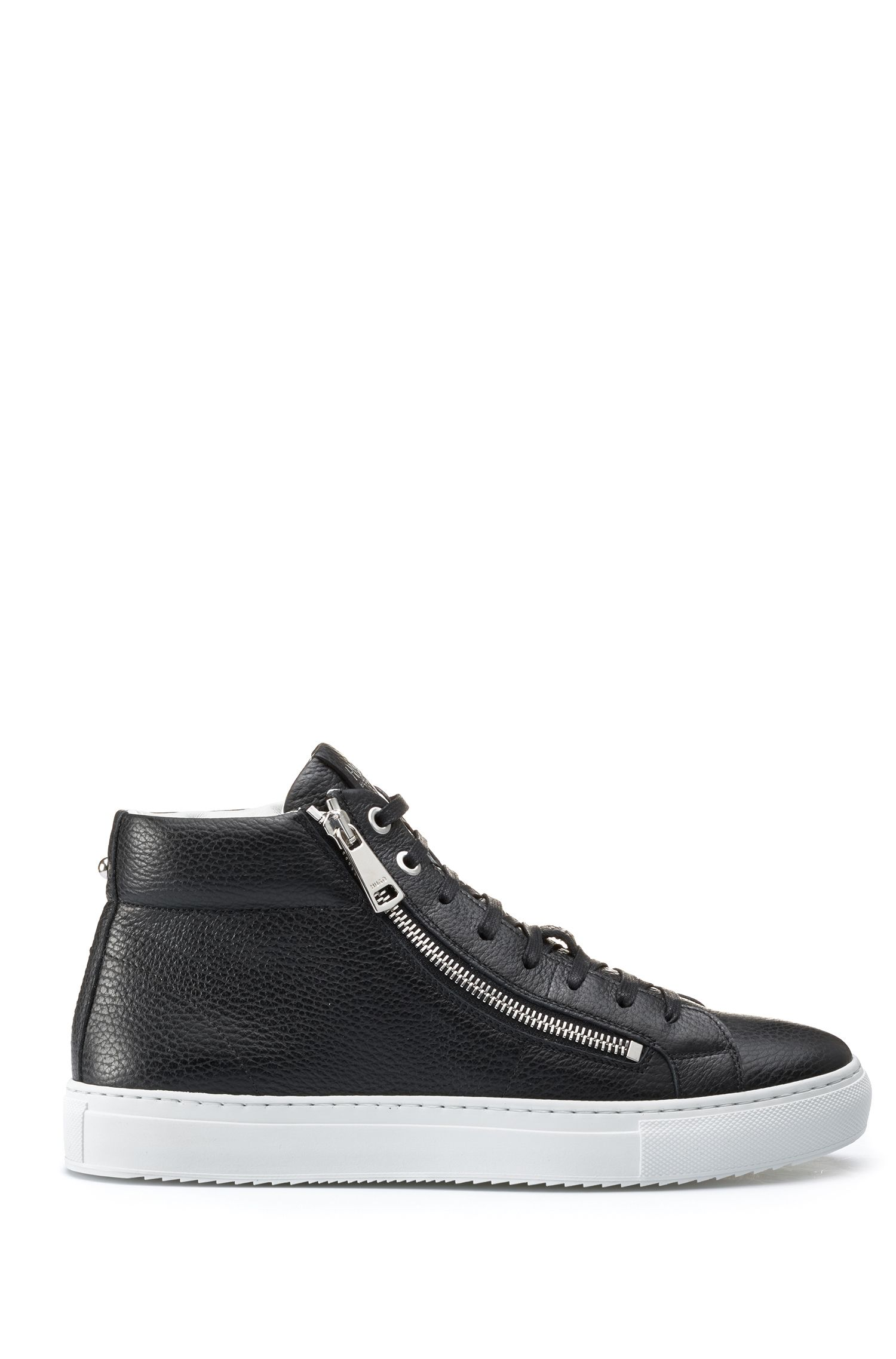 Mid-top trainers in grained Italian leather, Black