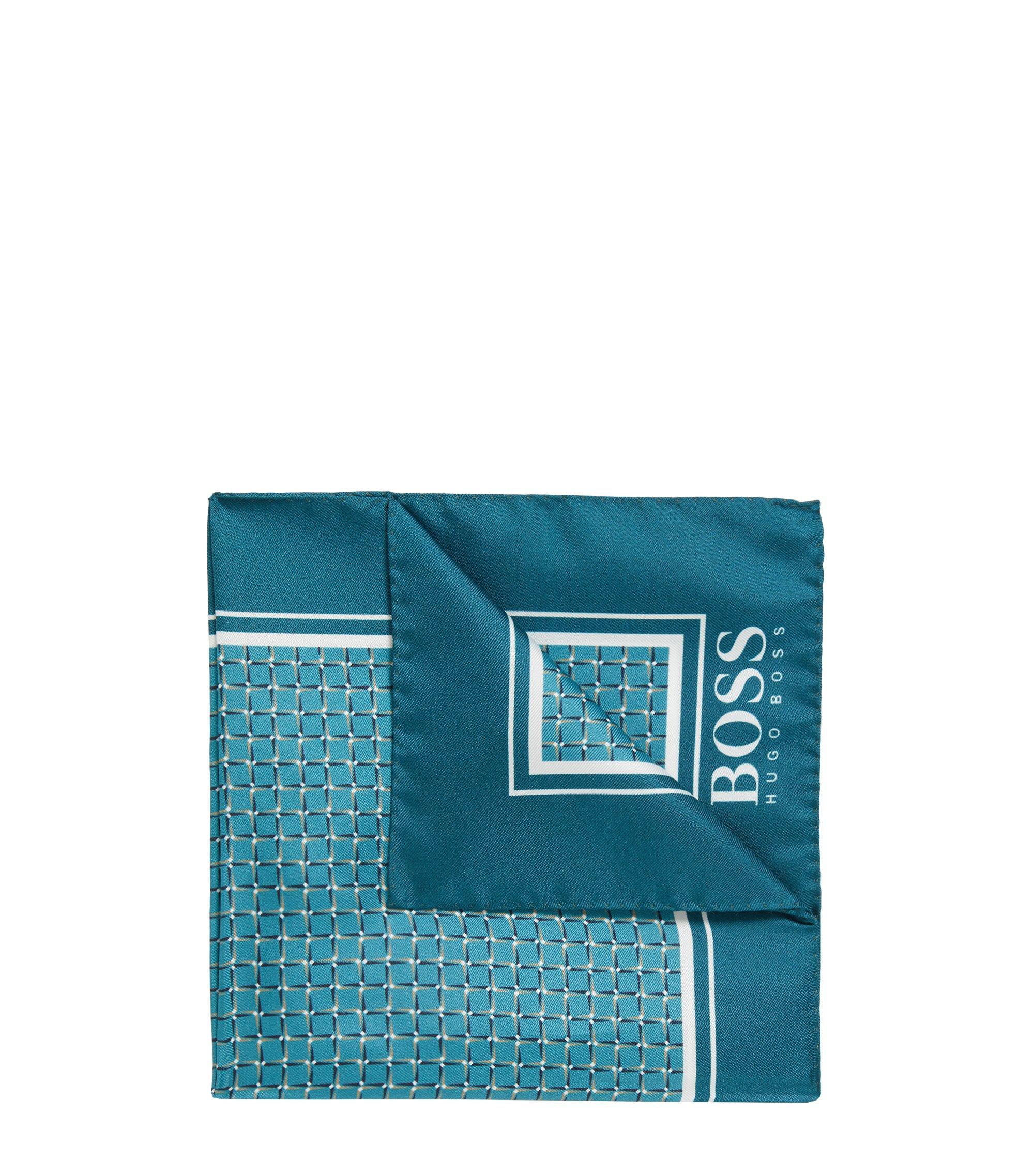 Pochette da taschino in seta con motivo a quadri stampato in digitale, Turchese
