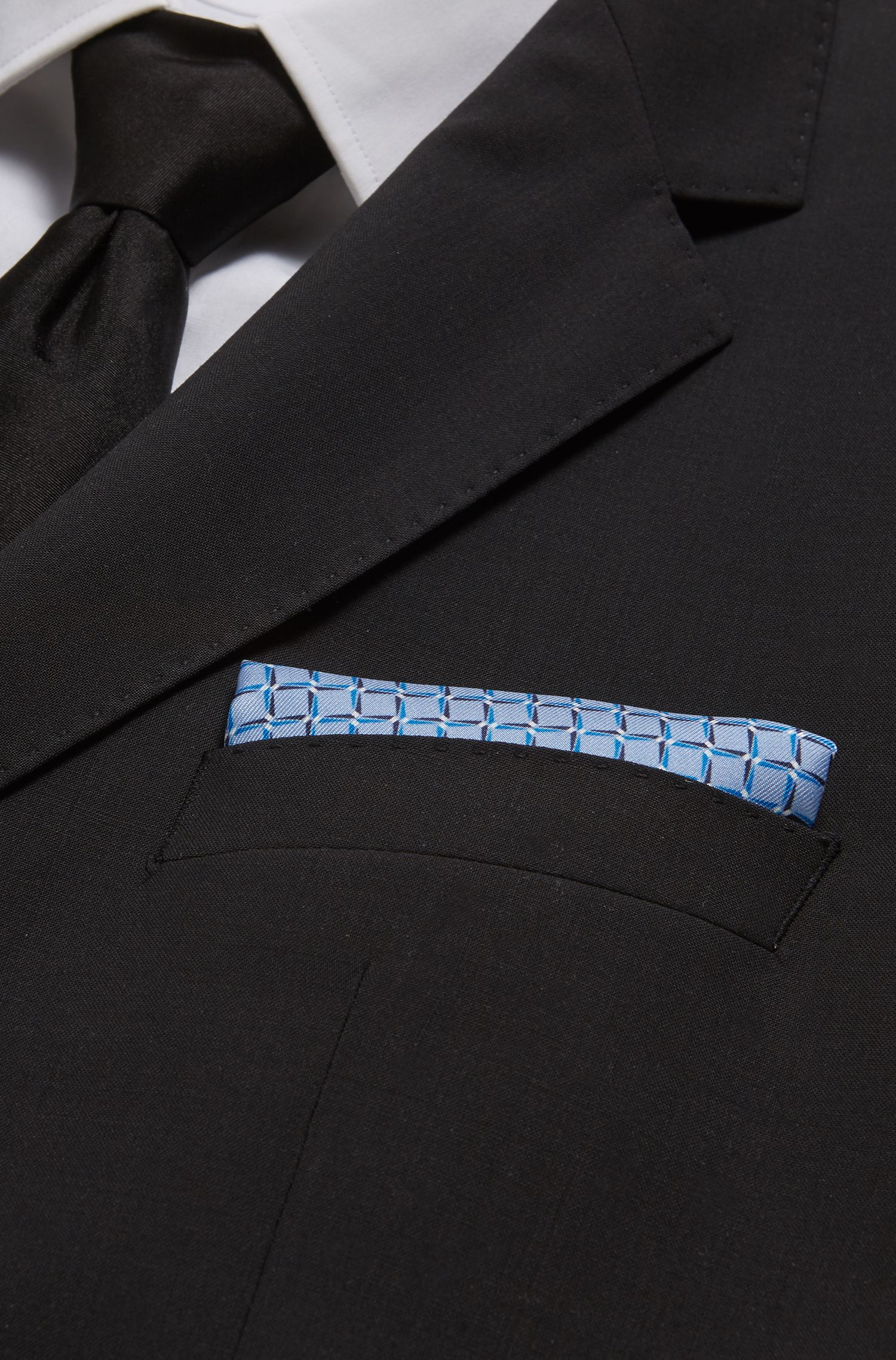 Silk pocket square with digitally printed squares motif, Open Blue