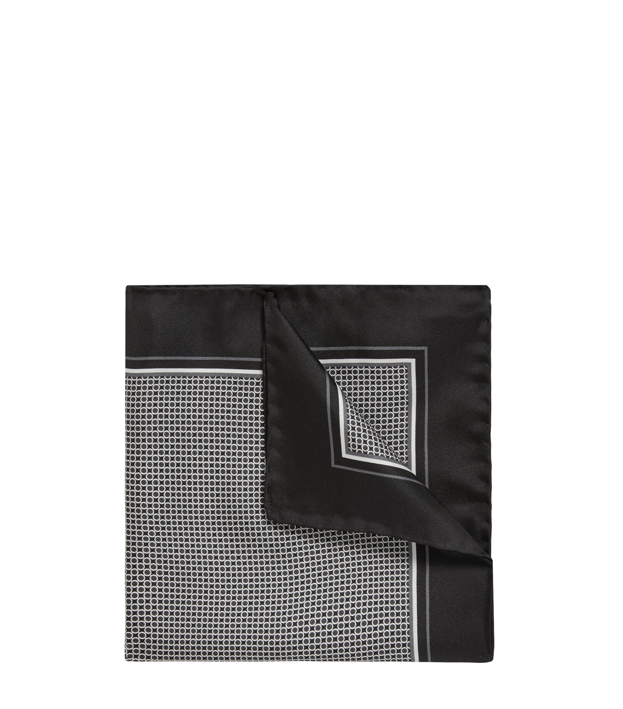 Silk pocket square with dot print, Black