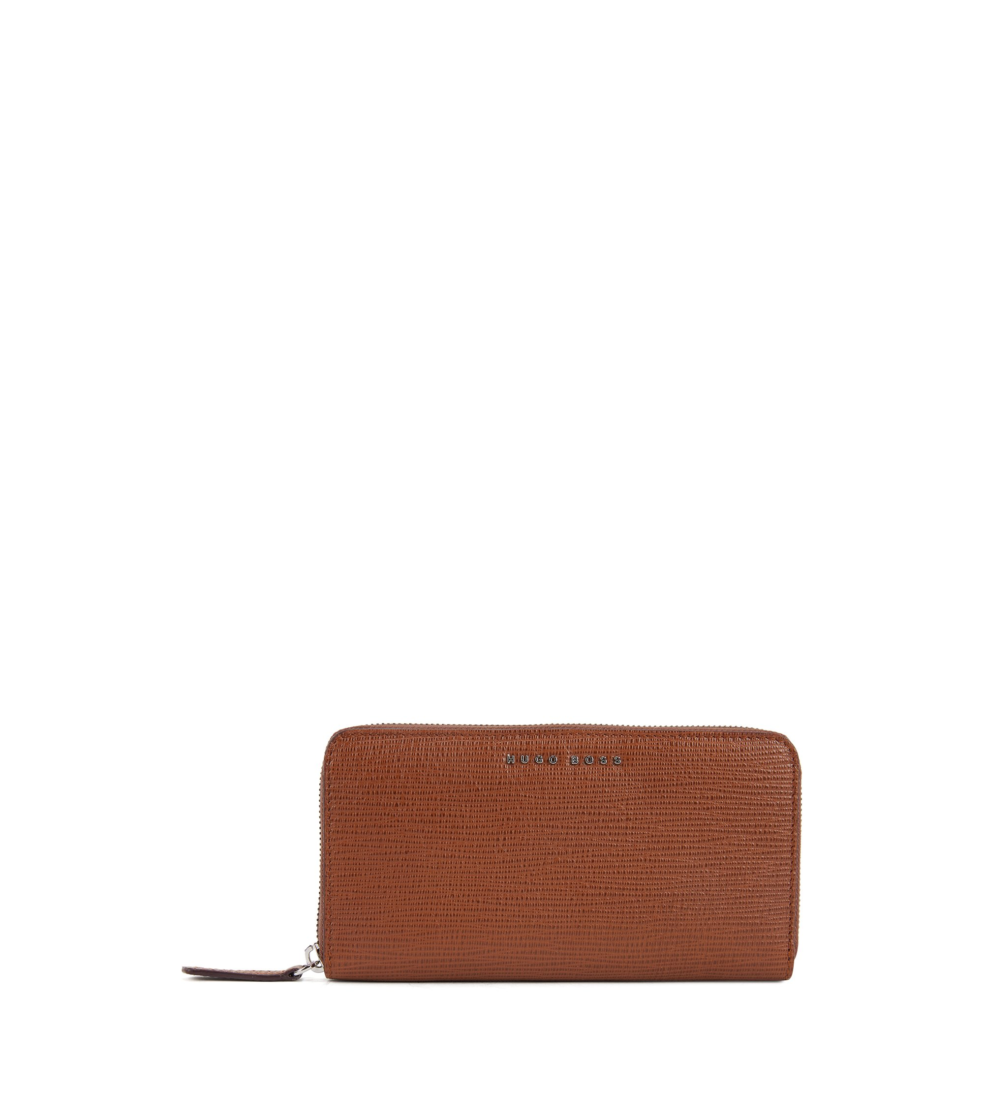 Zip-around wallet in embossed Italian calf leather, Brown