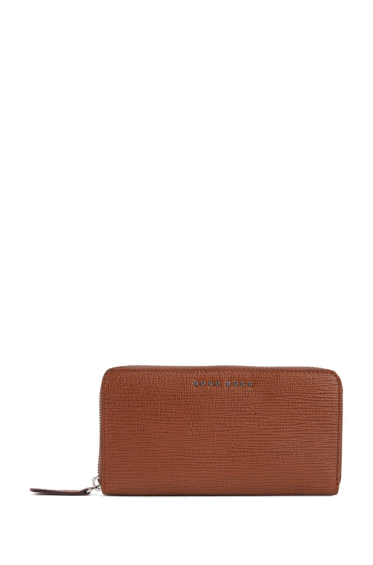 Geldbörse aus geprägtem italienischem Leder mit Reißverschluss, Braun