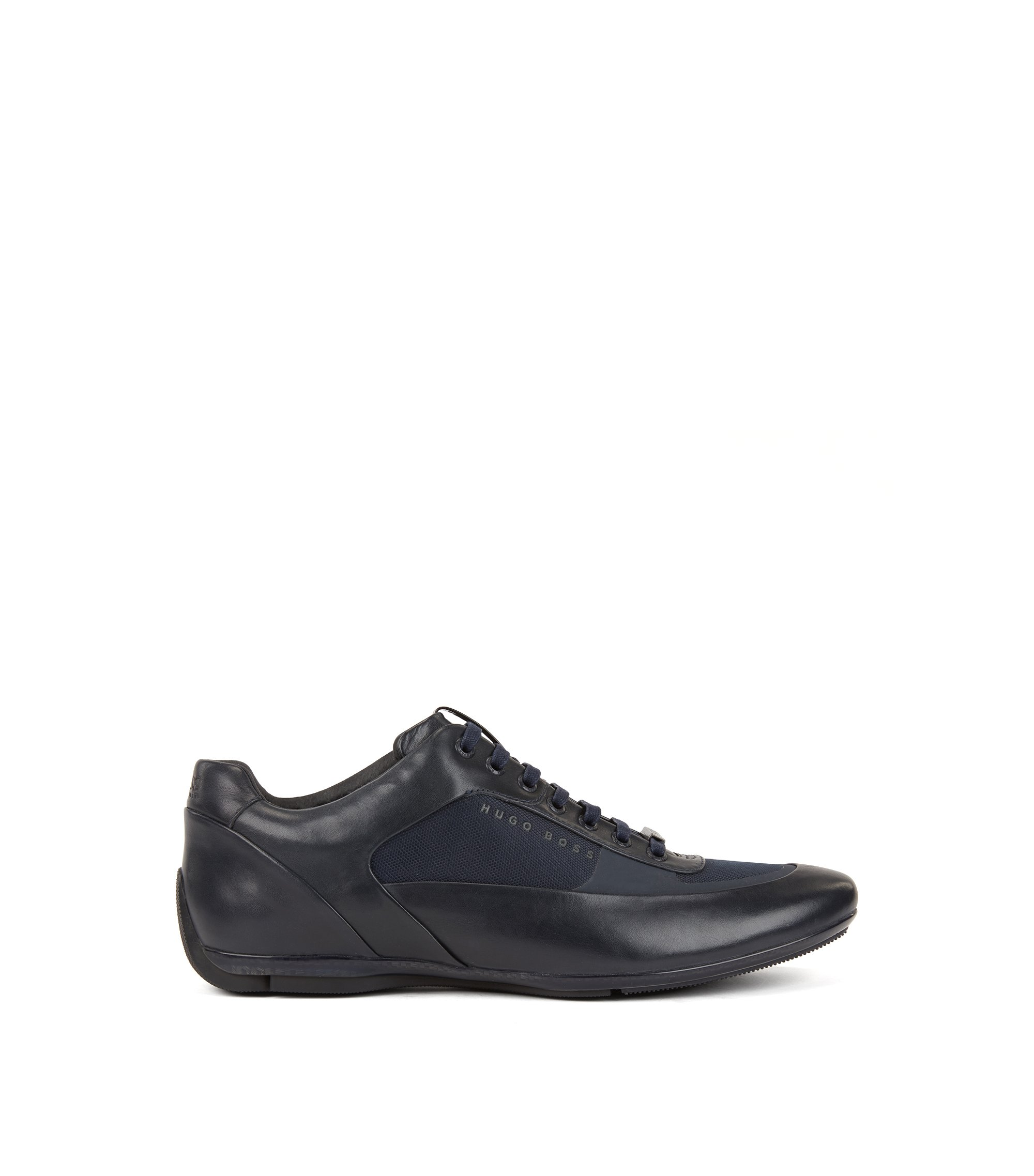 Low-top trainers in nappa leather and technical fabric, Dark Blue