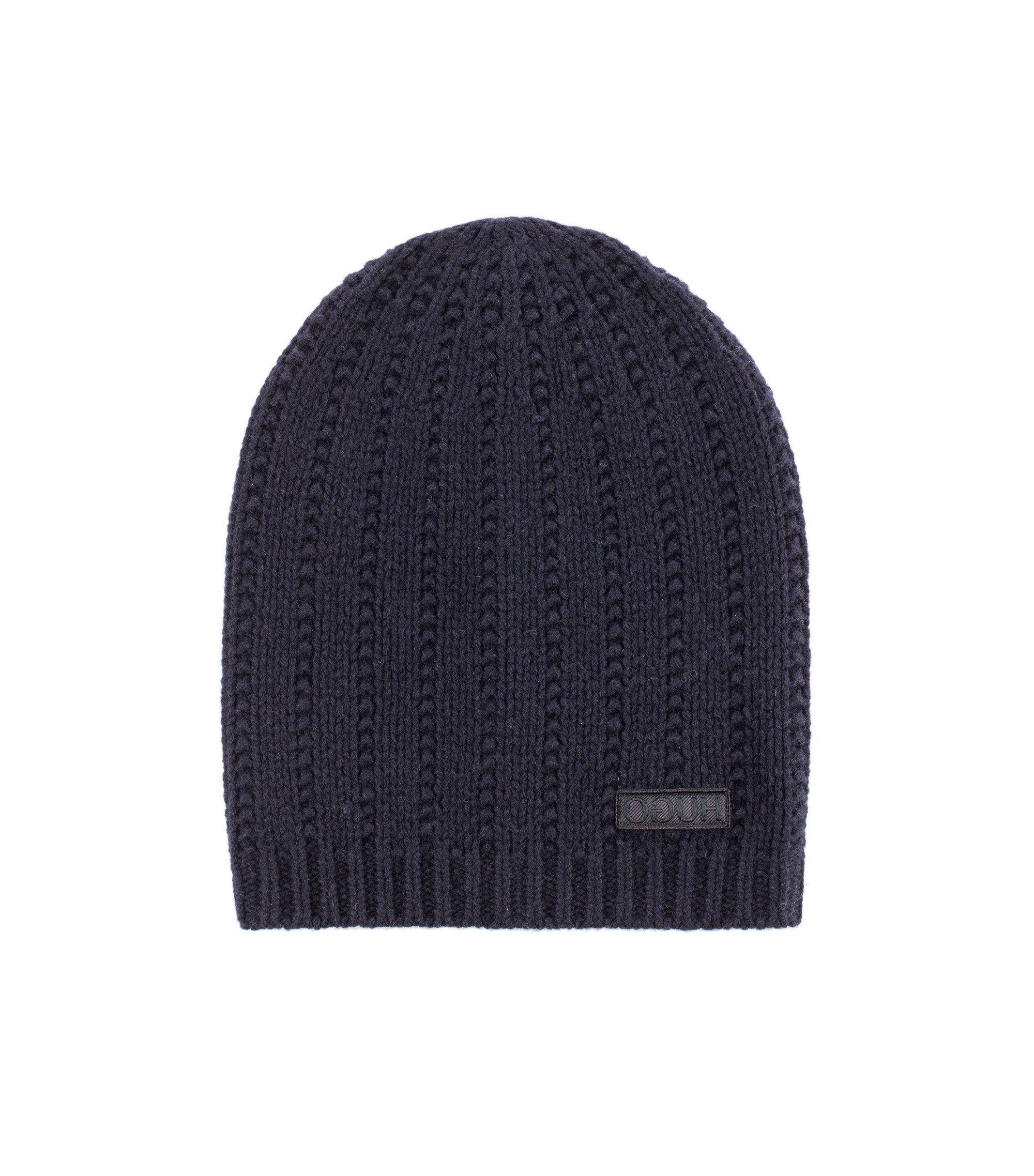 Beanie hat in virgin wool with reverse-logo badge, Dark Blue