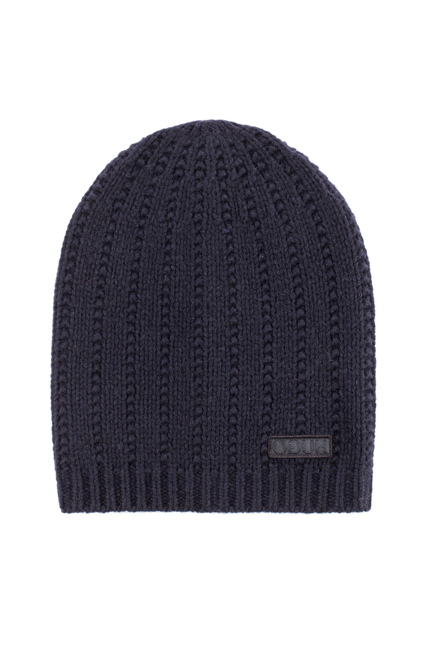 Beanie hat in virgin wool with reverse-logo badge, Dark Blue