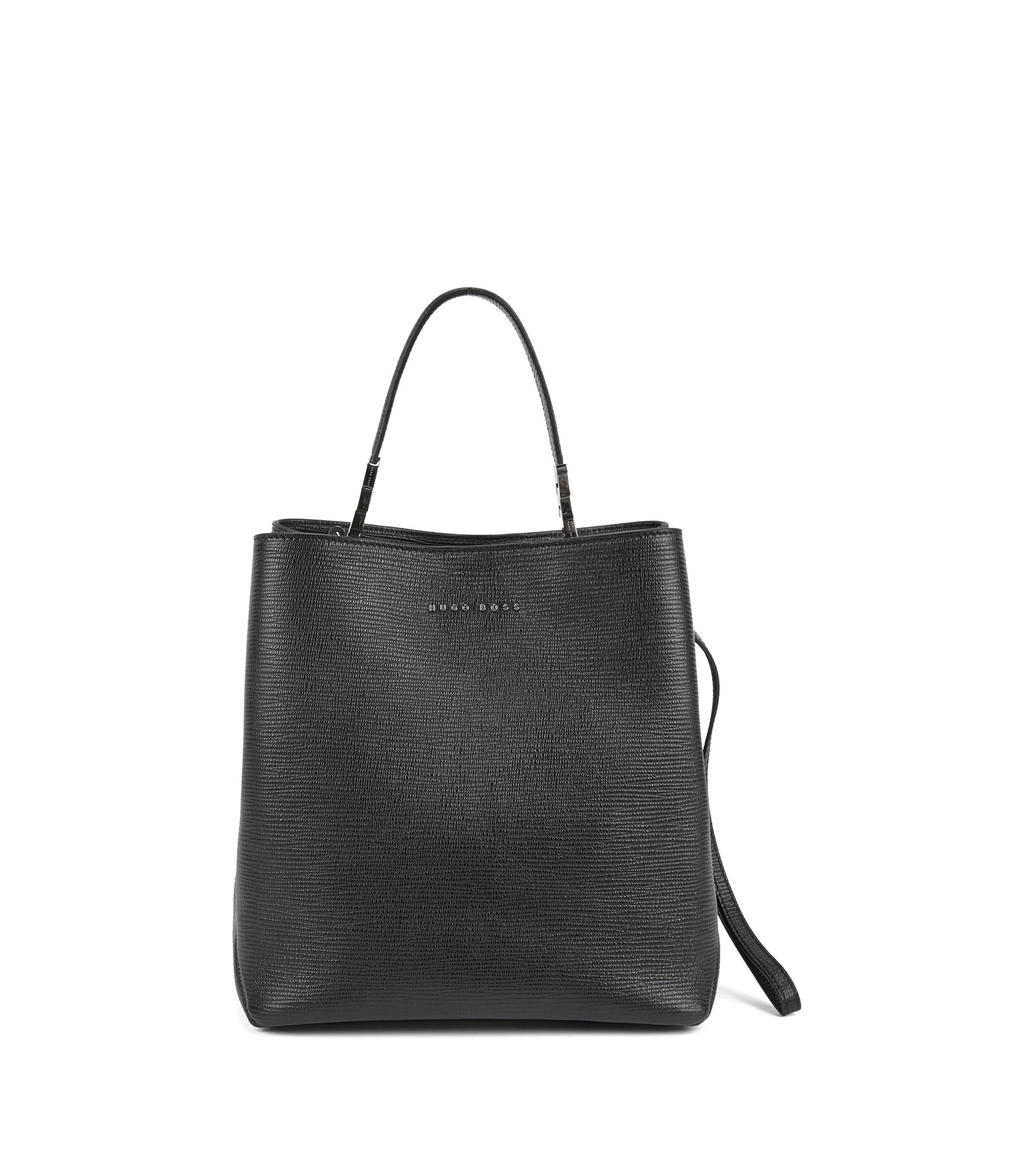 Bucket bag in embossed Italian calf leather with drawstring, Schwarz