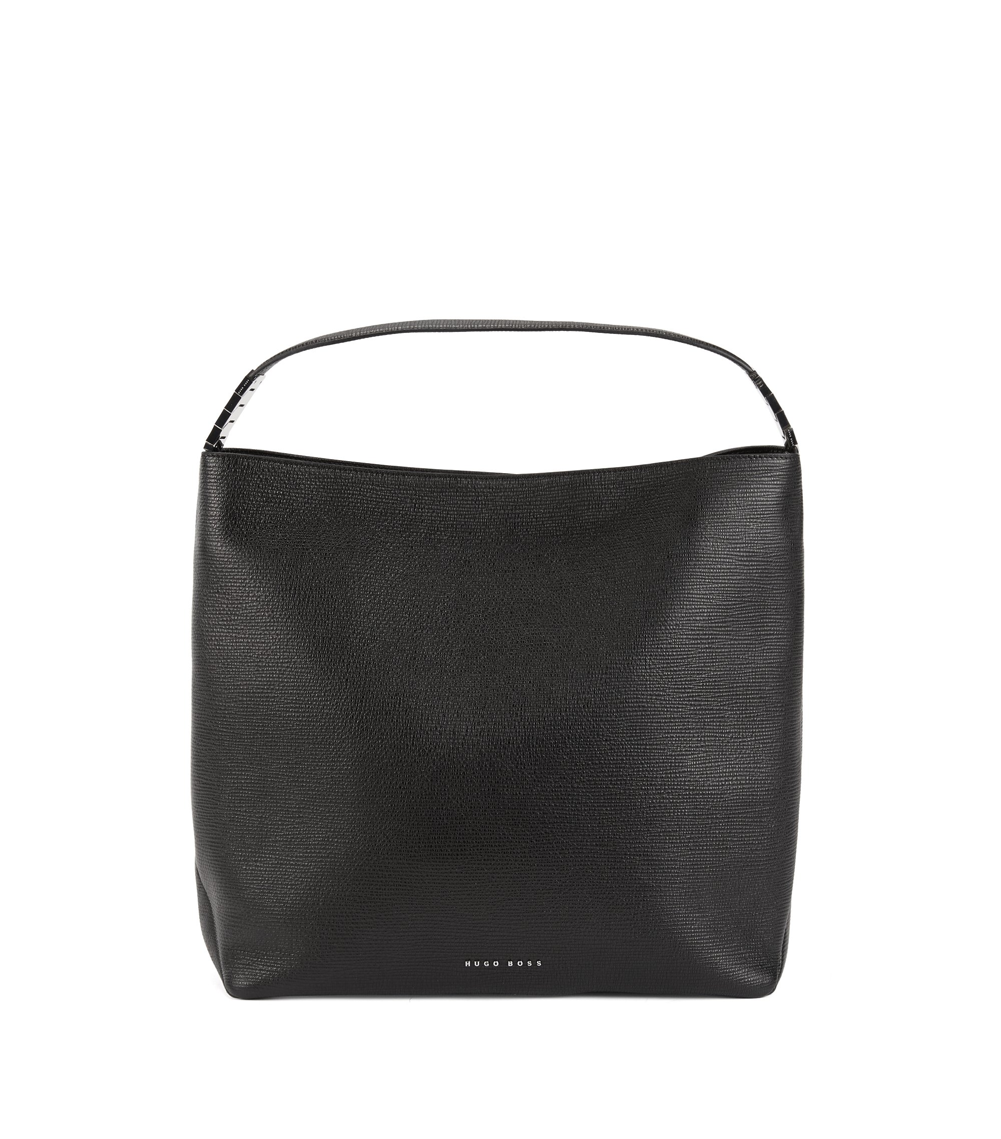 Hobo bag in embossed Italian calf leather, Black