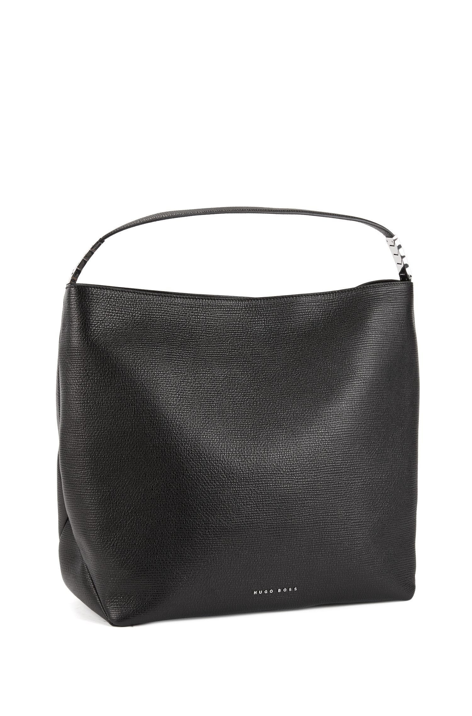 Hobo bag in embossed Italian calf leather