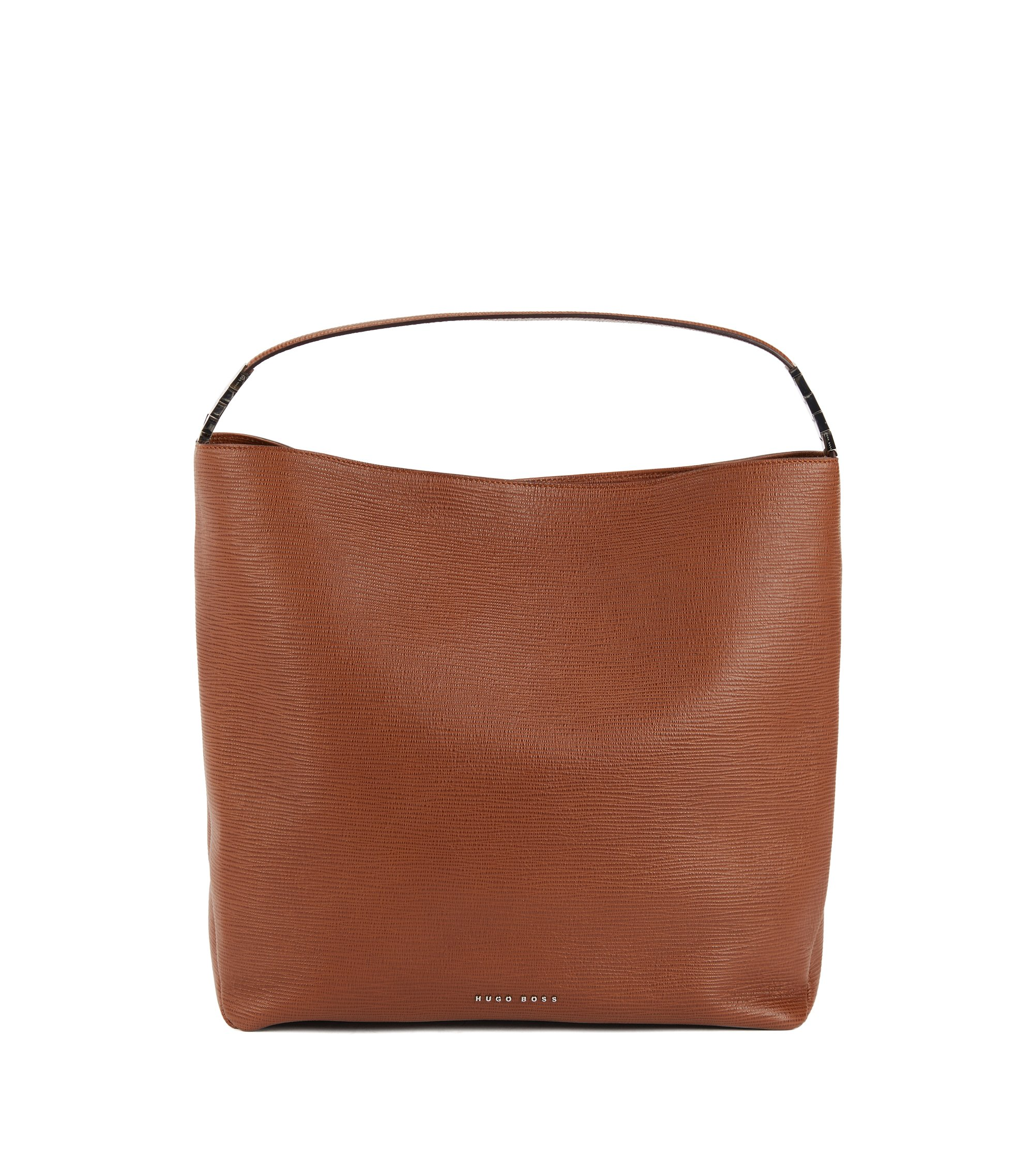 Hobo bag in embossed Italian calf leather, Brown