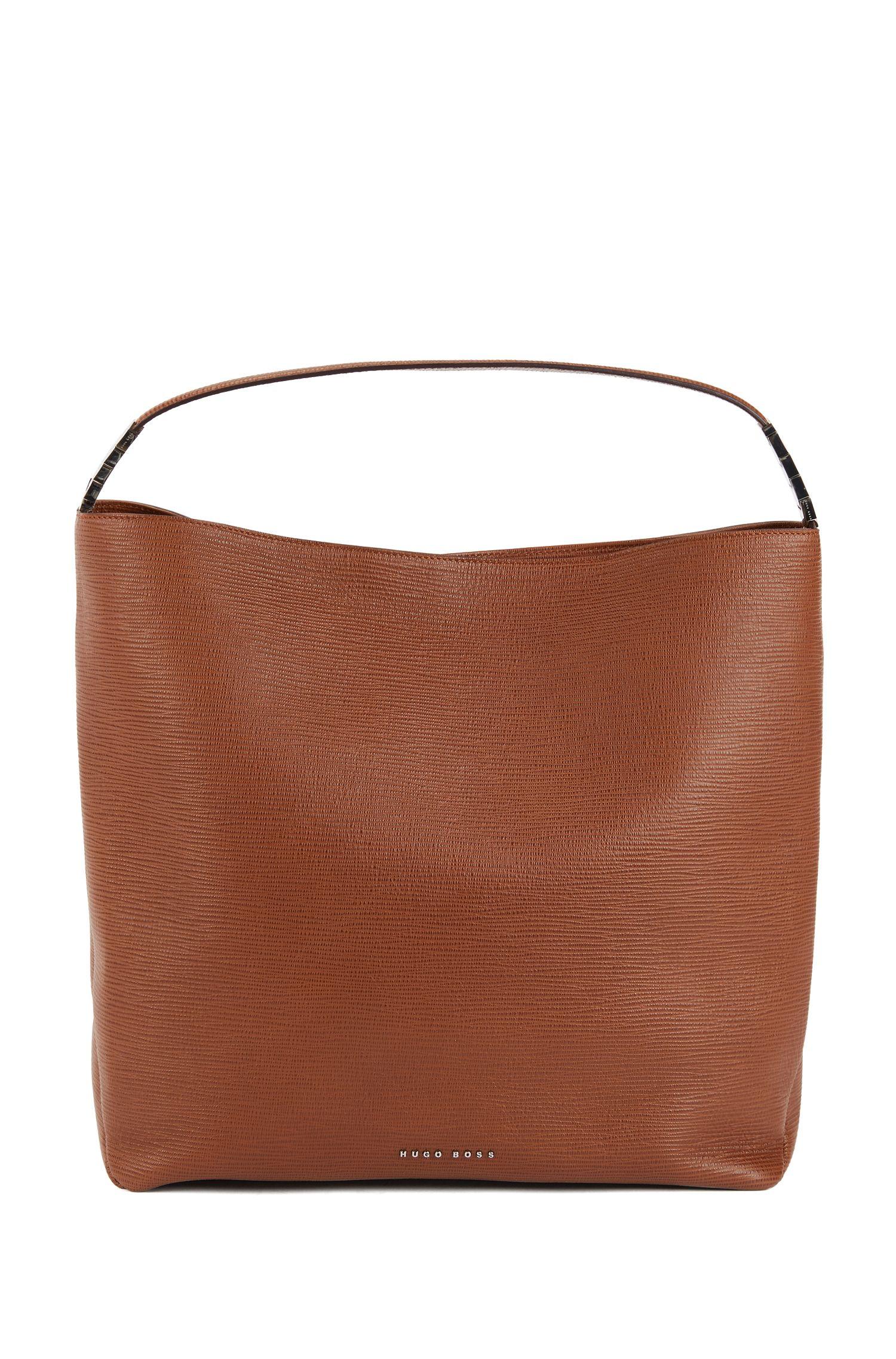 Hobo bag in embossed Italian calf leather, Brown
