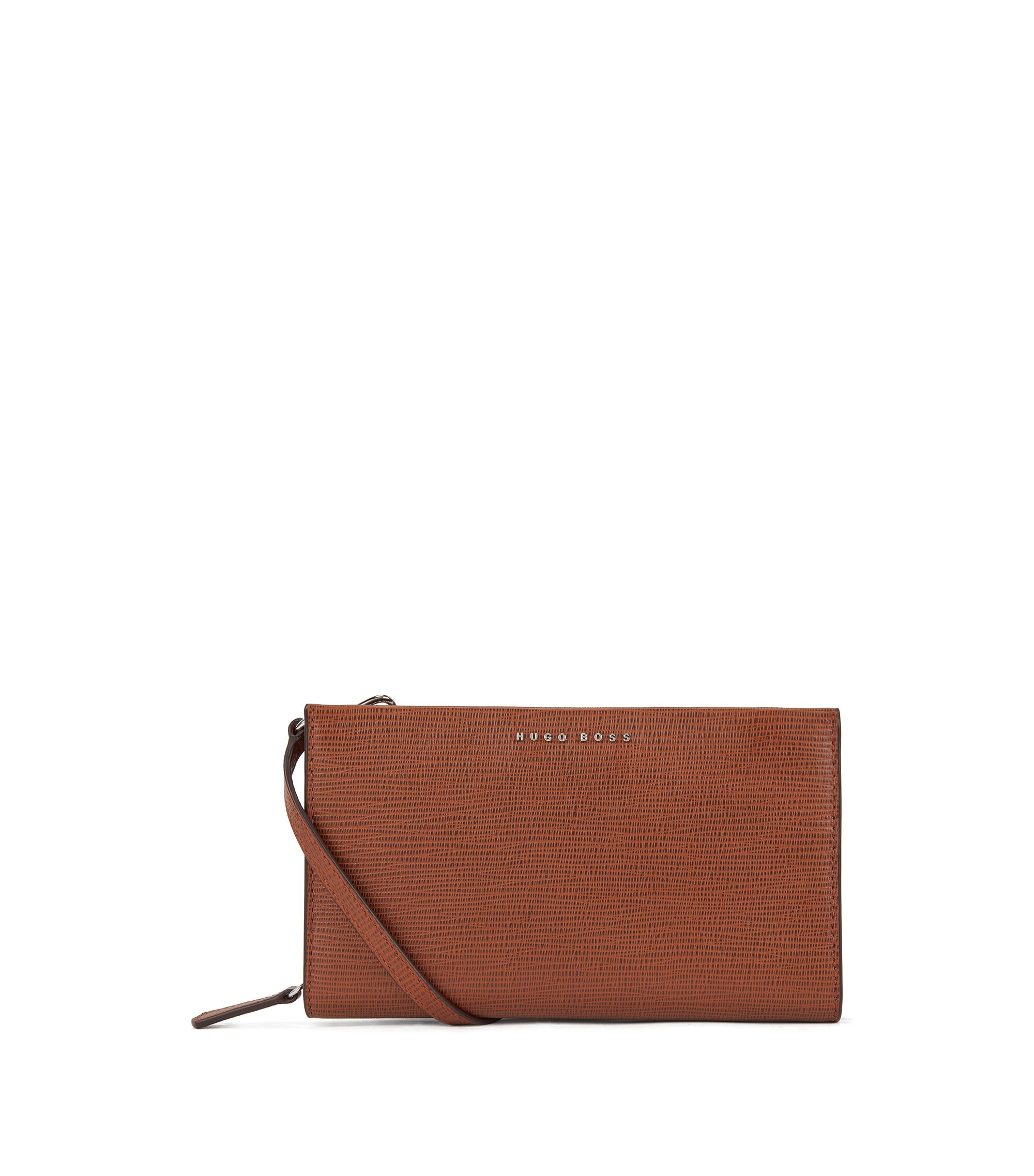 Wallet-style handbag in embossed Italian calf leather, Brown
