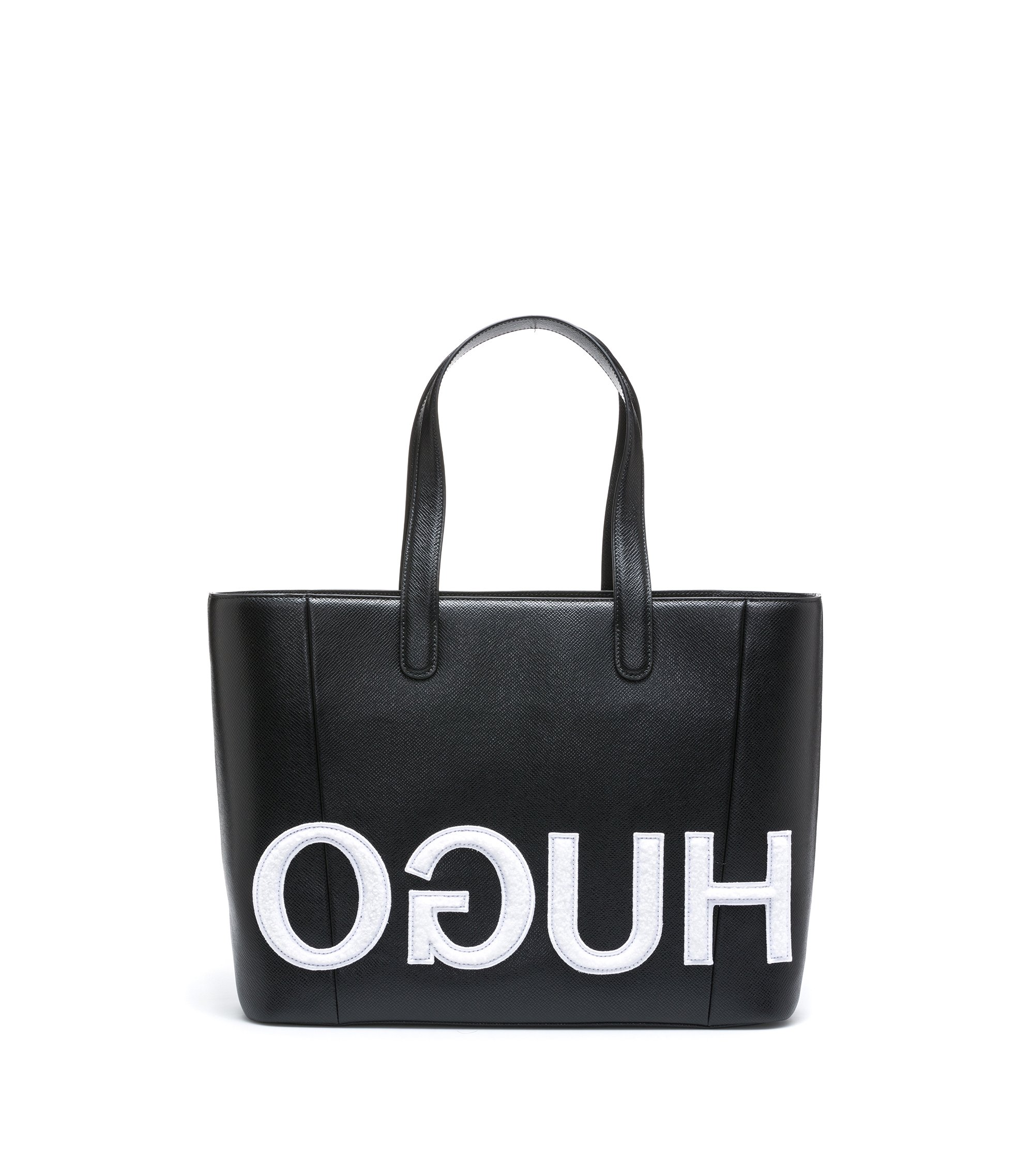 Shopper bag in calf leather with patched reverse logo, Black